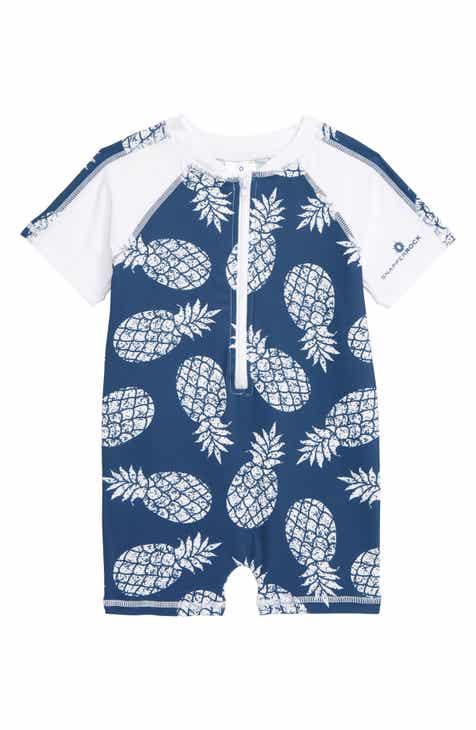 a166e772b1 Snapper Rock Denim Pineapple One-Piece Rashguard Swimsuit (Baby Boys)