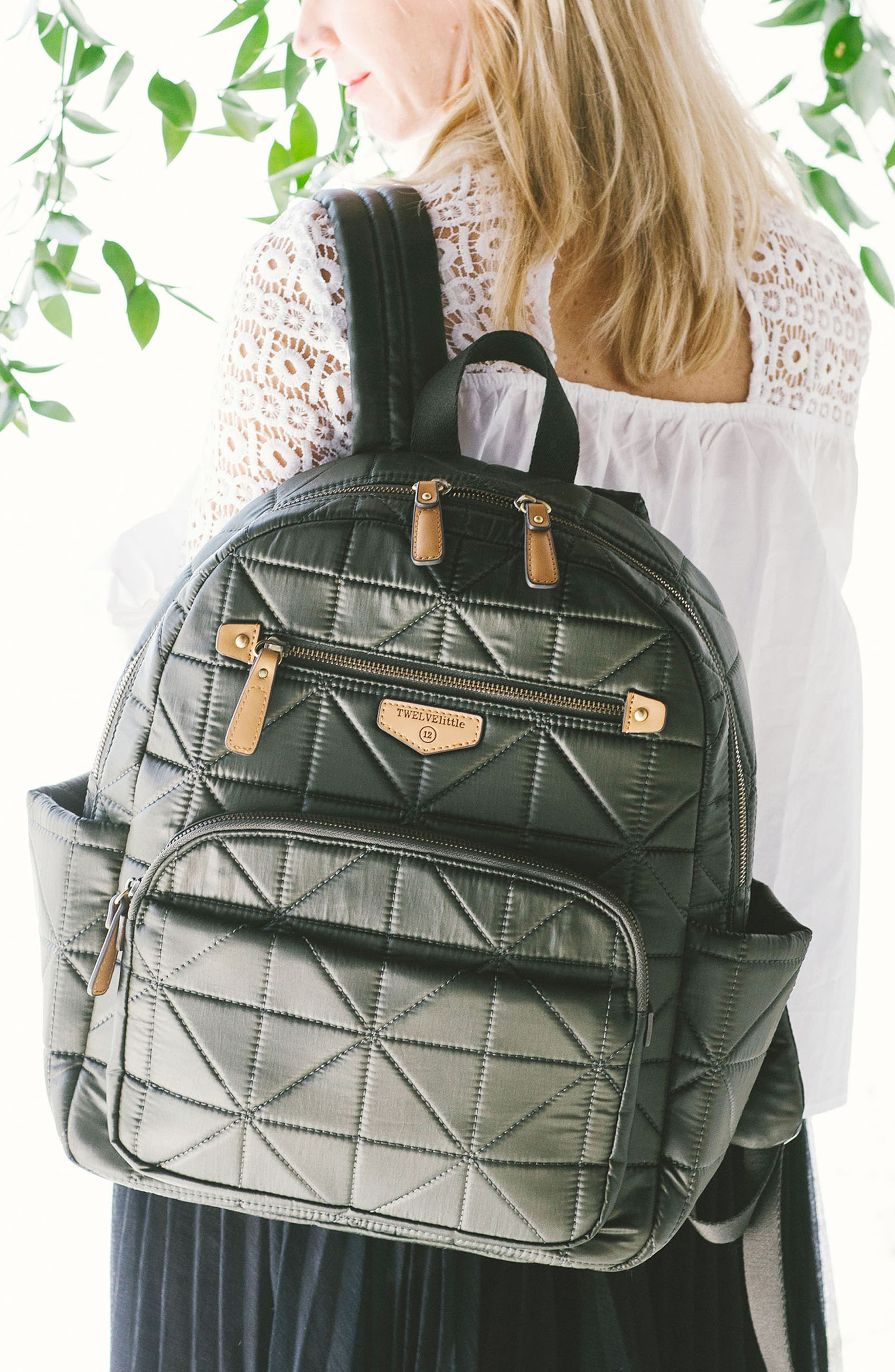 'Companion Backpack' Quilted Nylon Diaper Bag,                             Alternate thumbnail 5, color,                             Olive