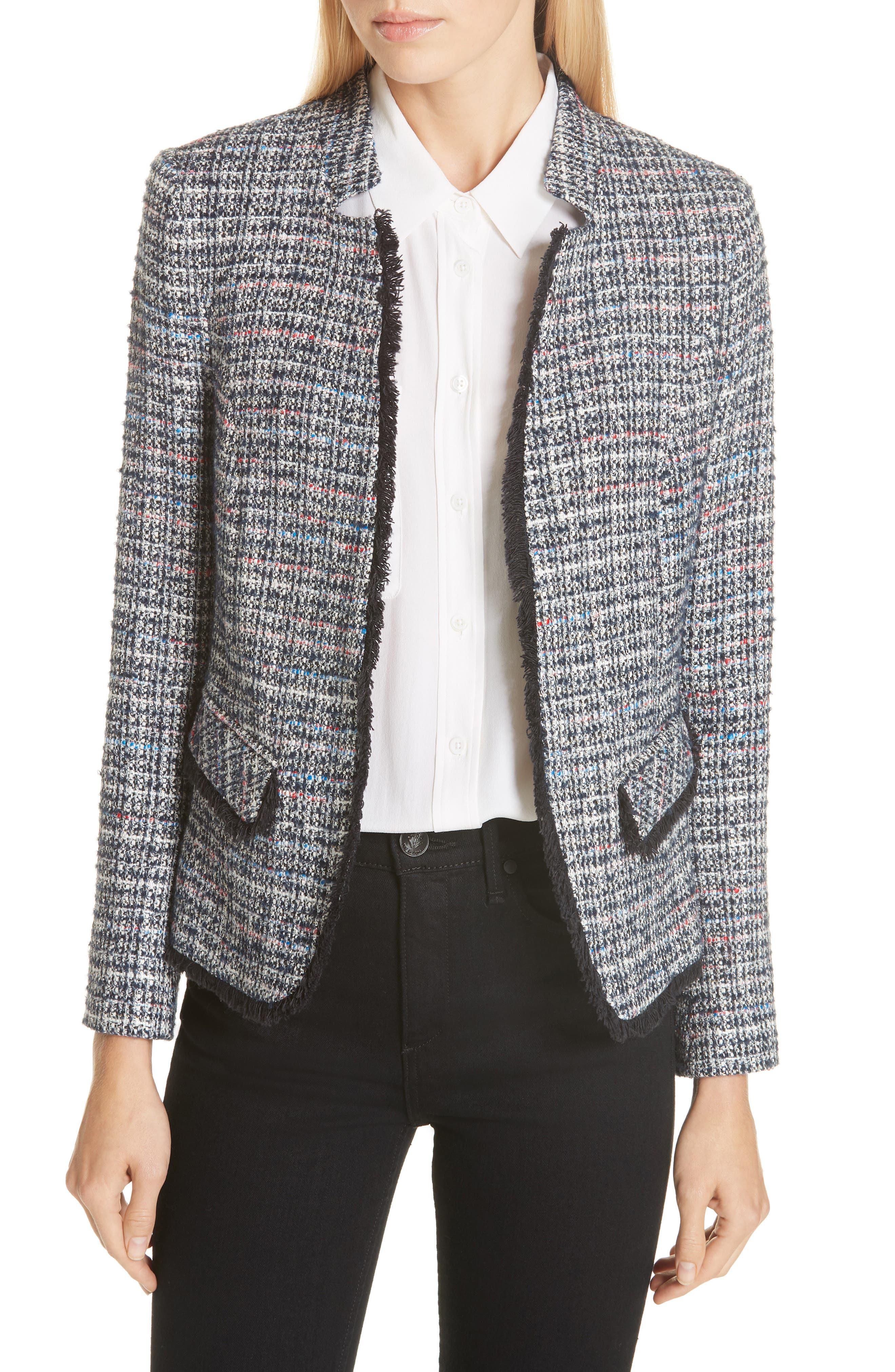 HELENE BERMAN Notch Collar Tweed Jacket in Blue