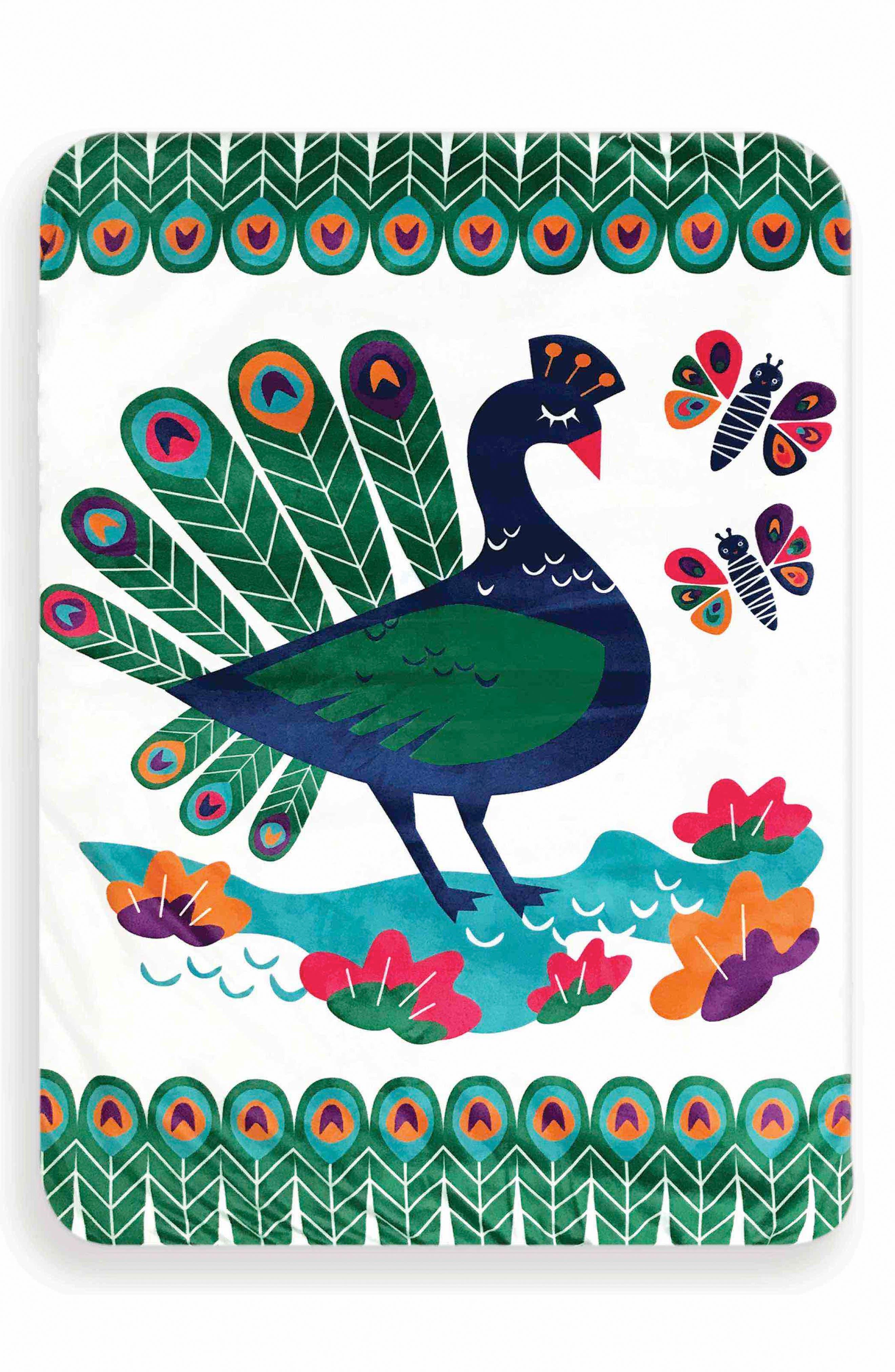 Peacock Paradise Play Mat,                             Main thumbnail 1, color,                             Green/ Blue/ Purple