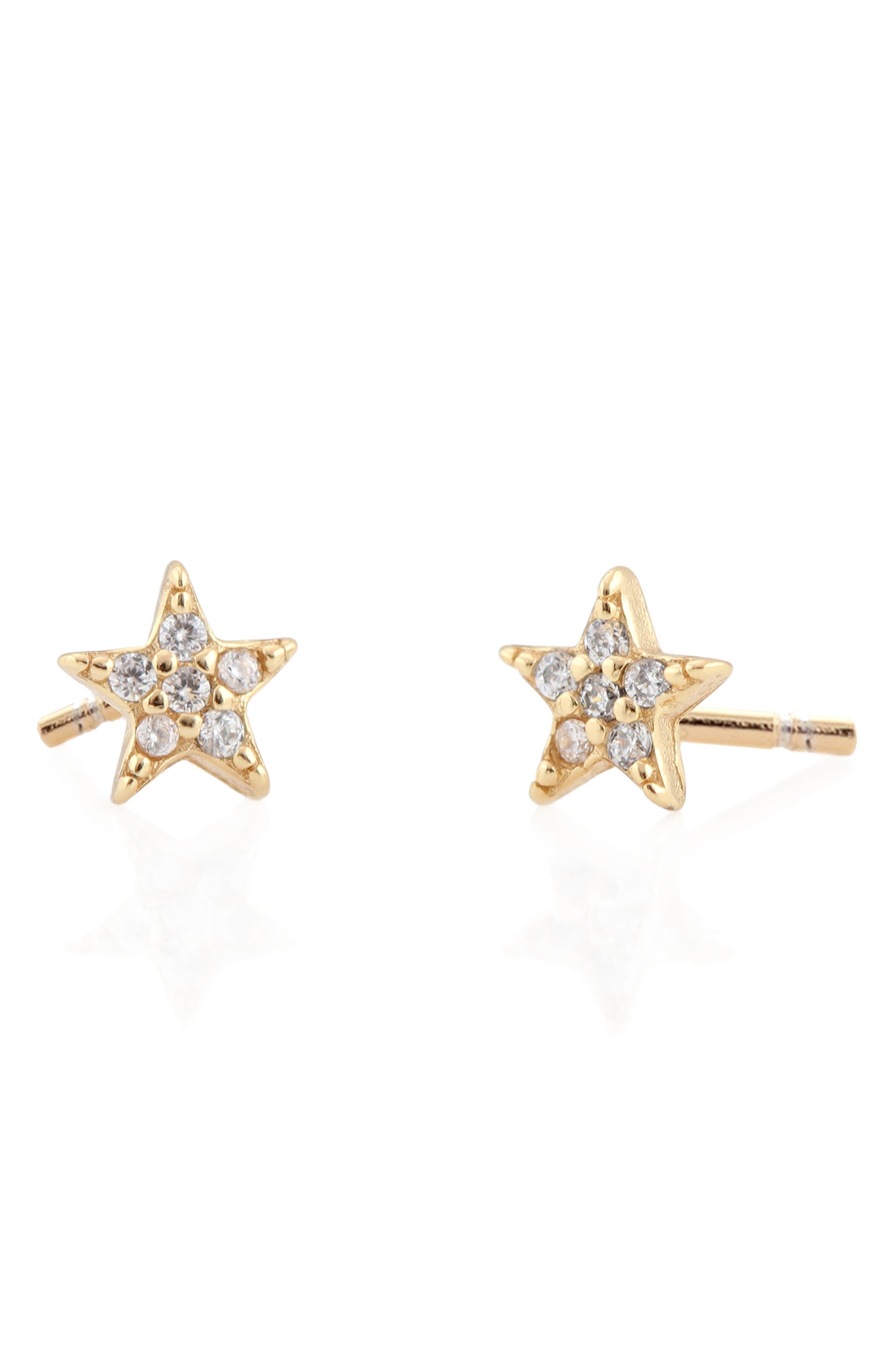 Pavé Star Stud Earrings,                         Main,                         color, Gold