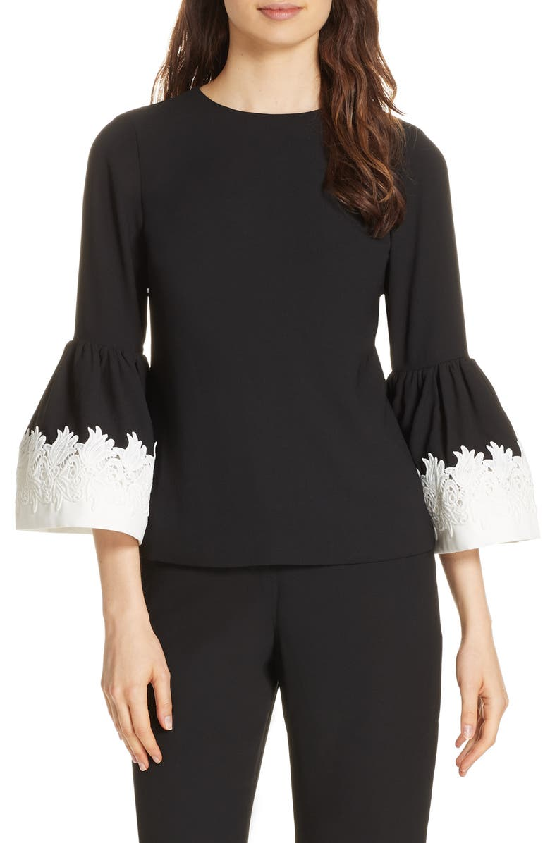 Ted Baker London Lace Trim Fluted Bell Sleeve Blouse | Nordstrom