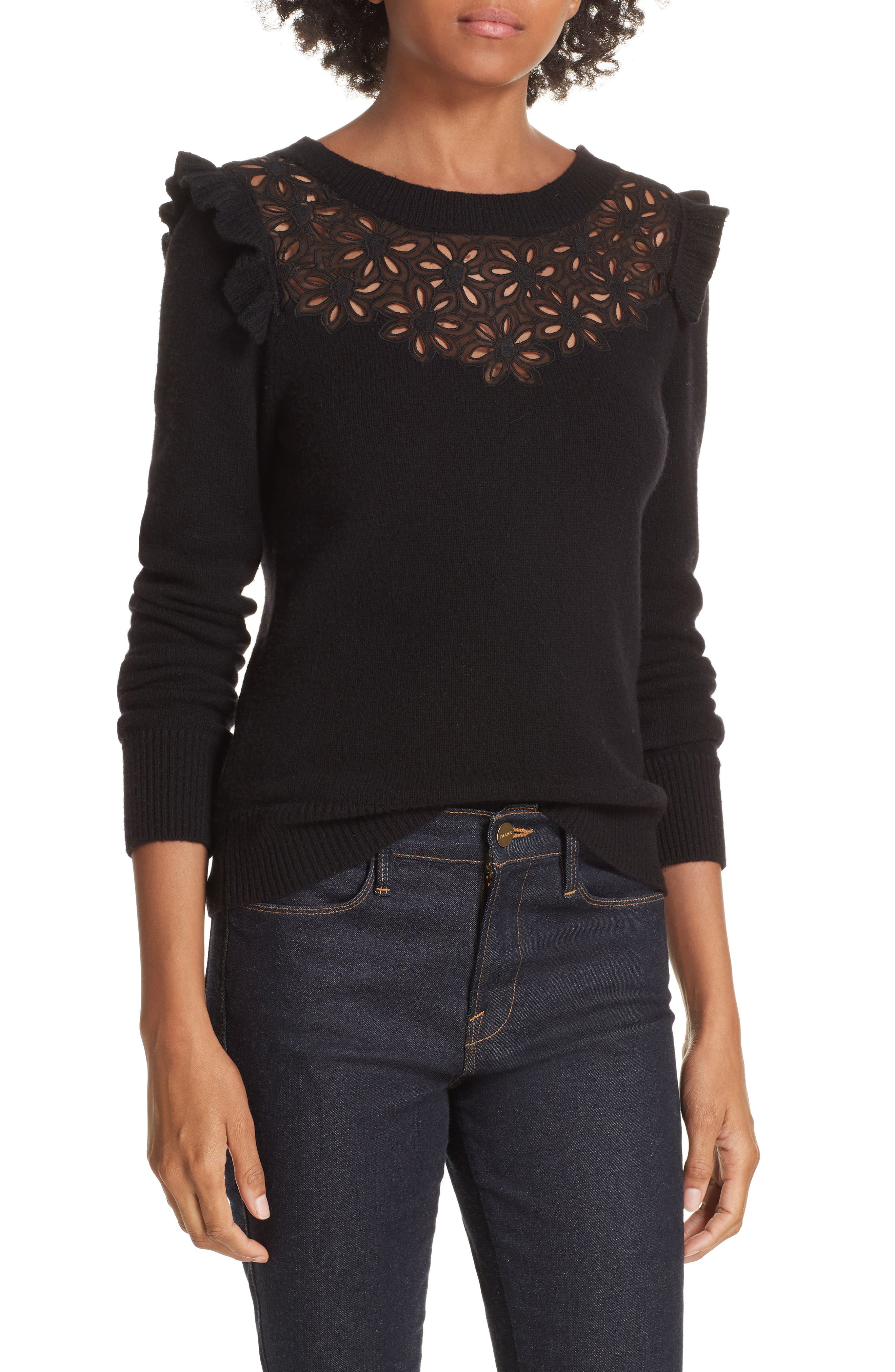 Emilie Embroidered Sweater,                             Main thumbnail 1, color,                             Black