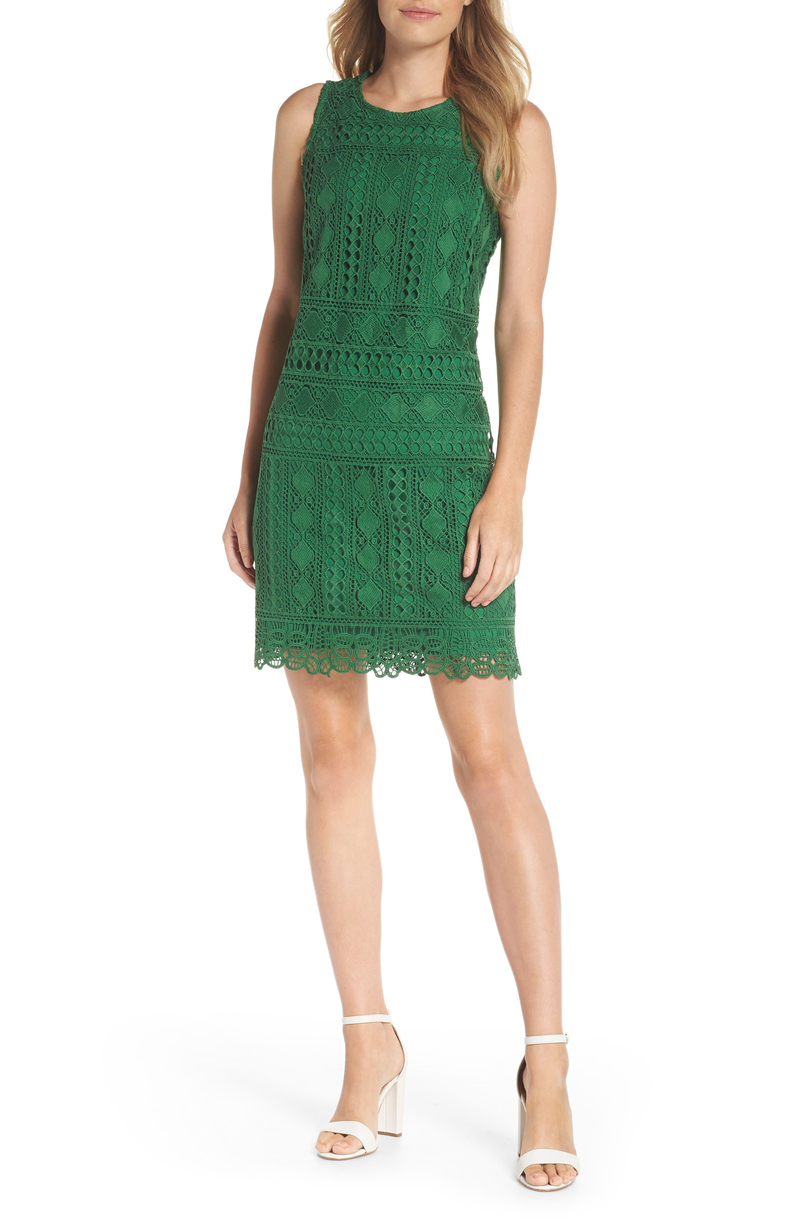 Lace Sheath Dress,                         Main,                         color, Green