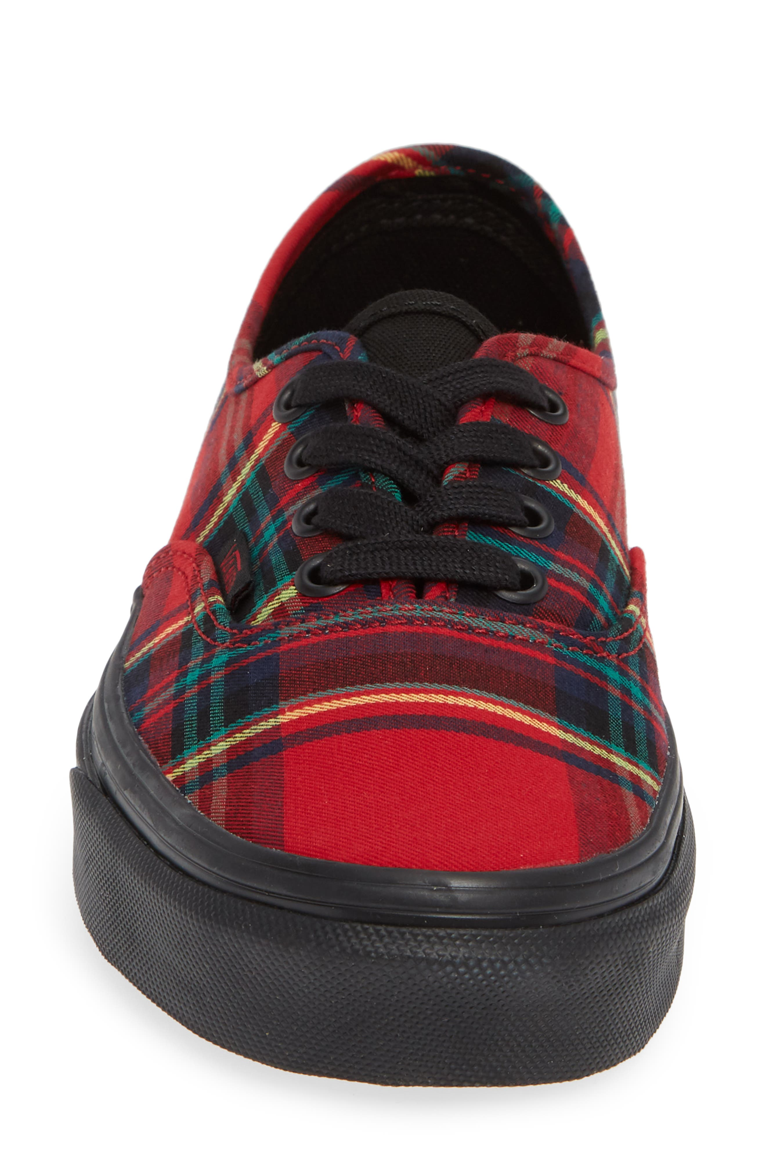 'Authentic' Sneaker,                             Alternate thumbnail 4, color,                             Plaid Mix Red