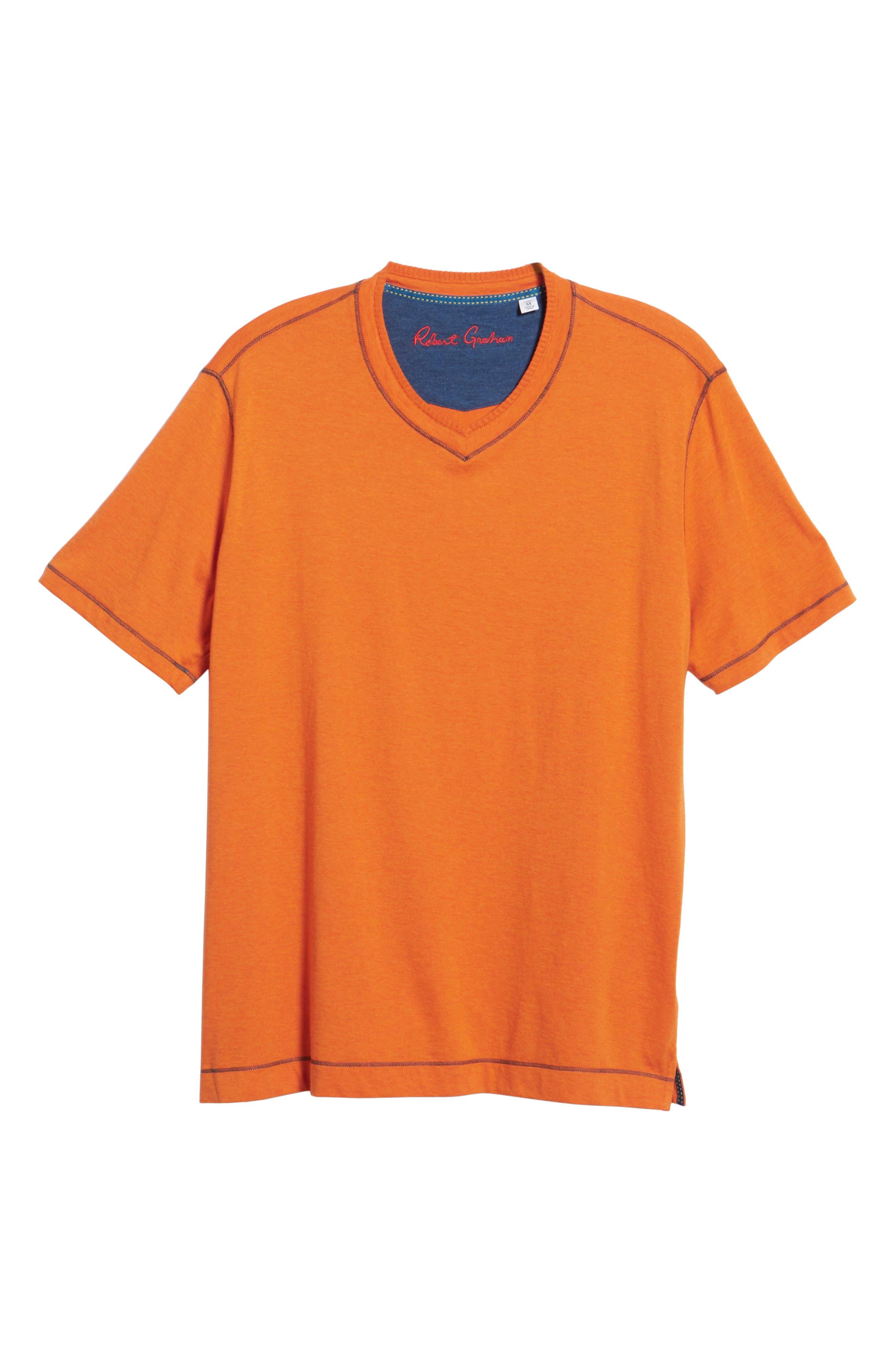 Traveler V-Neck T-Shirt,                             Alternate thumbnail 4, color,                             Orange