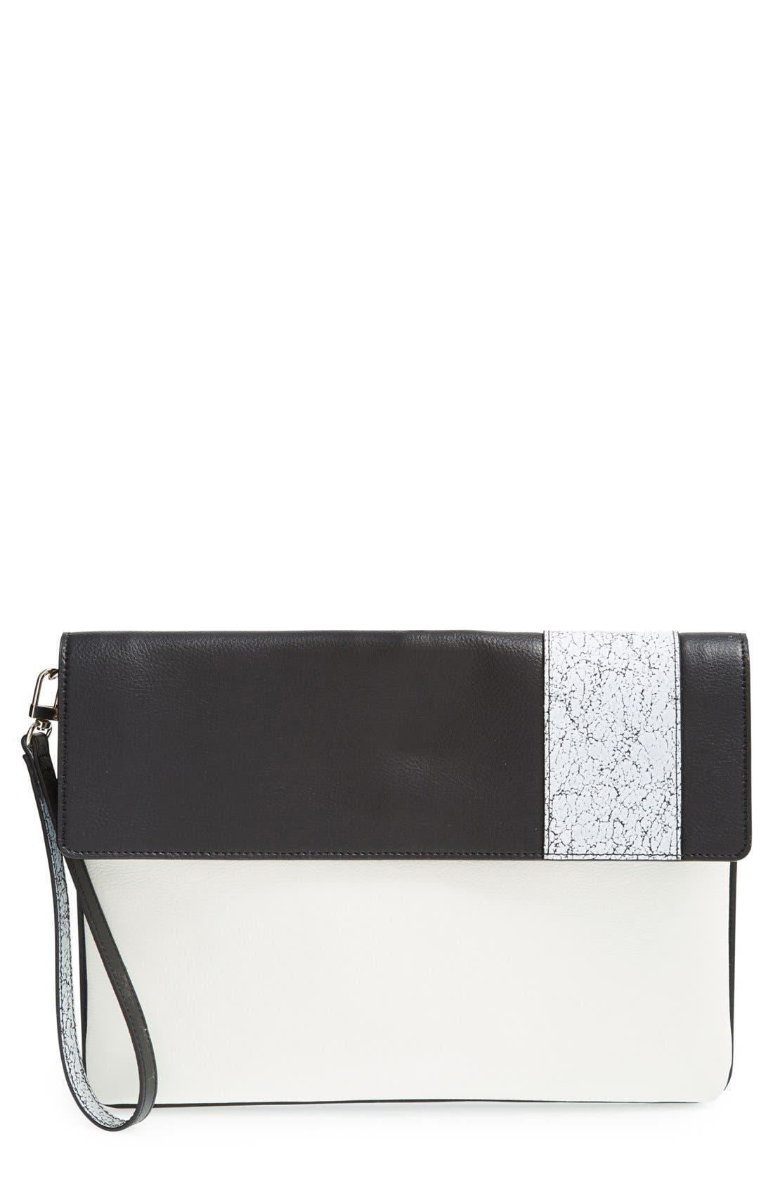 Main Image - Halogen® 'Racer Stripe' Python Embossed Leather Clutch