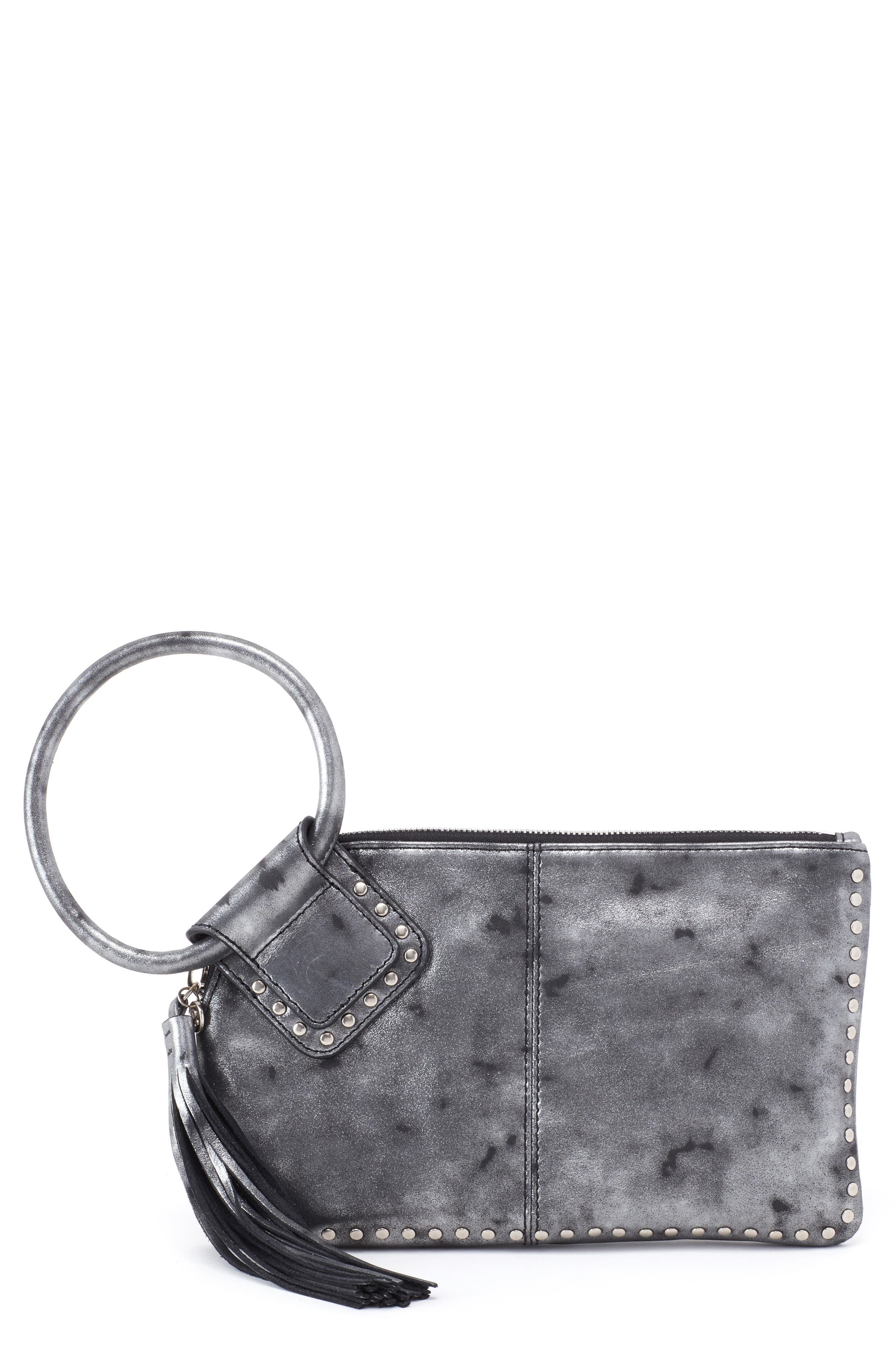 Sable Calfskin Leather Clutch,                             Main thumbnail 1, color,                             Smoke