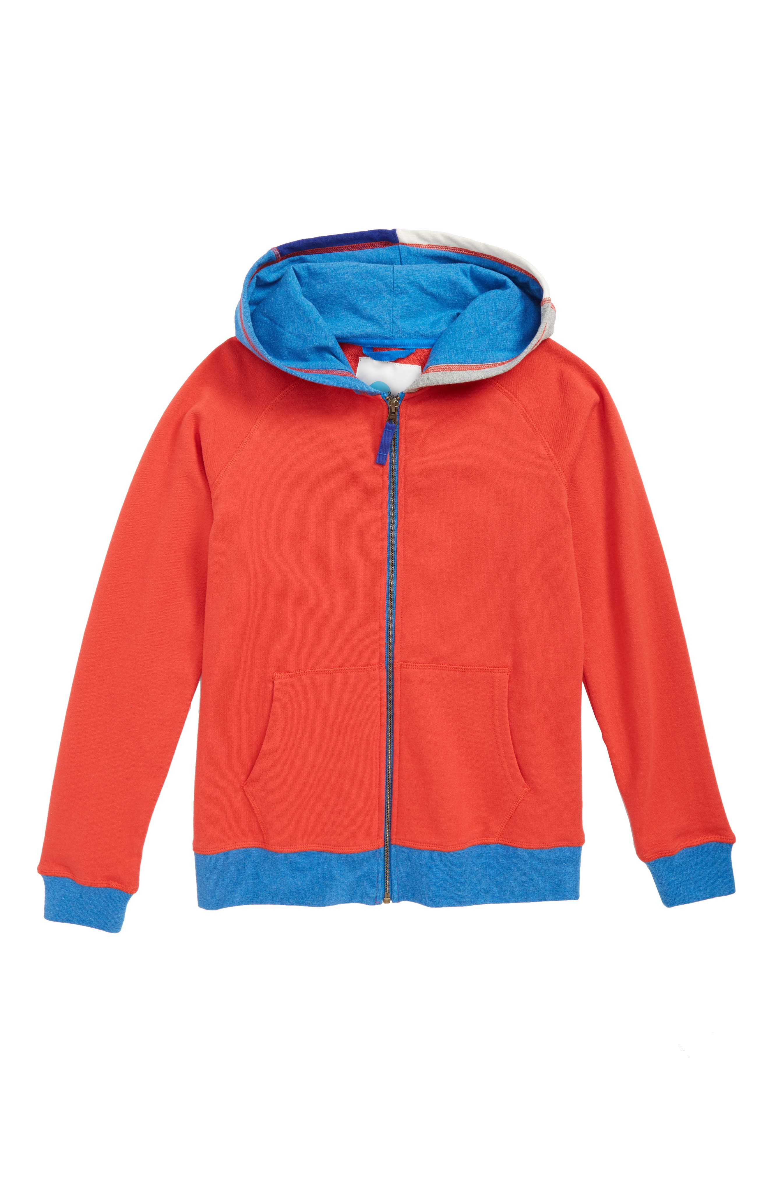 Patchwork Zip Hoodie,                             Main thumbnail 1, color,                             Salsa Red