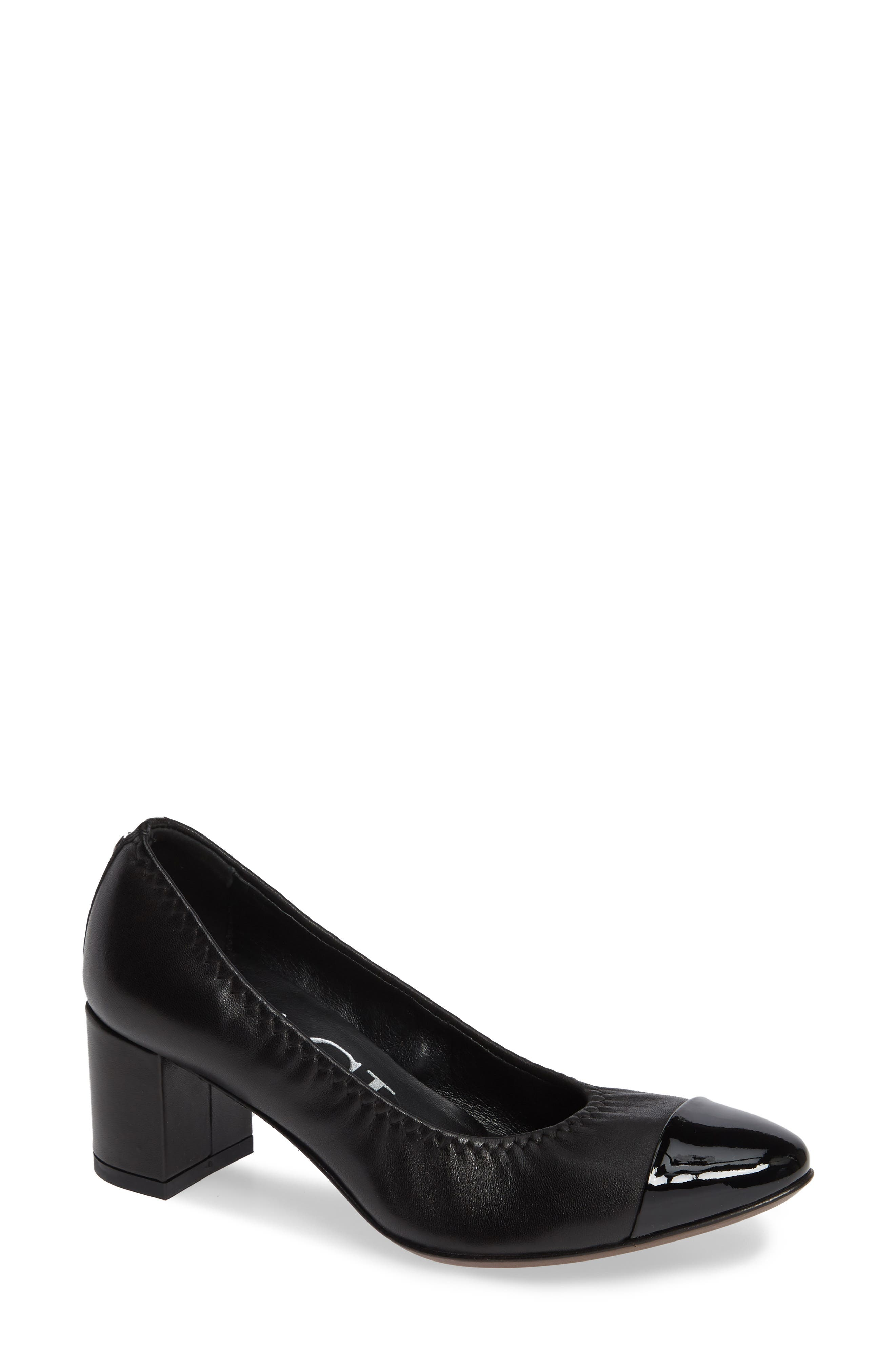AGL ATTILIO GIUSTI LEOMBRUNI Block Heel Pump, Black/ Black Leather