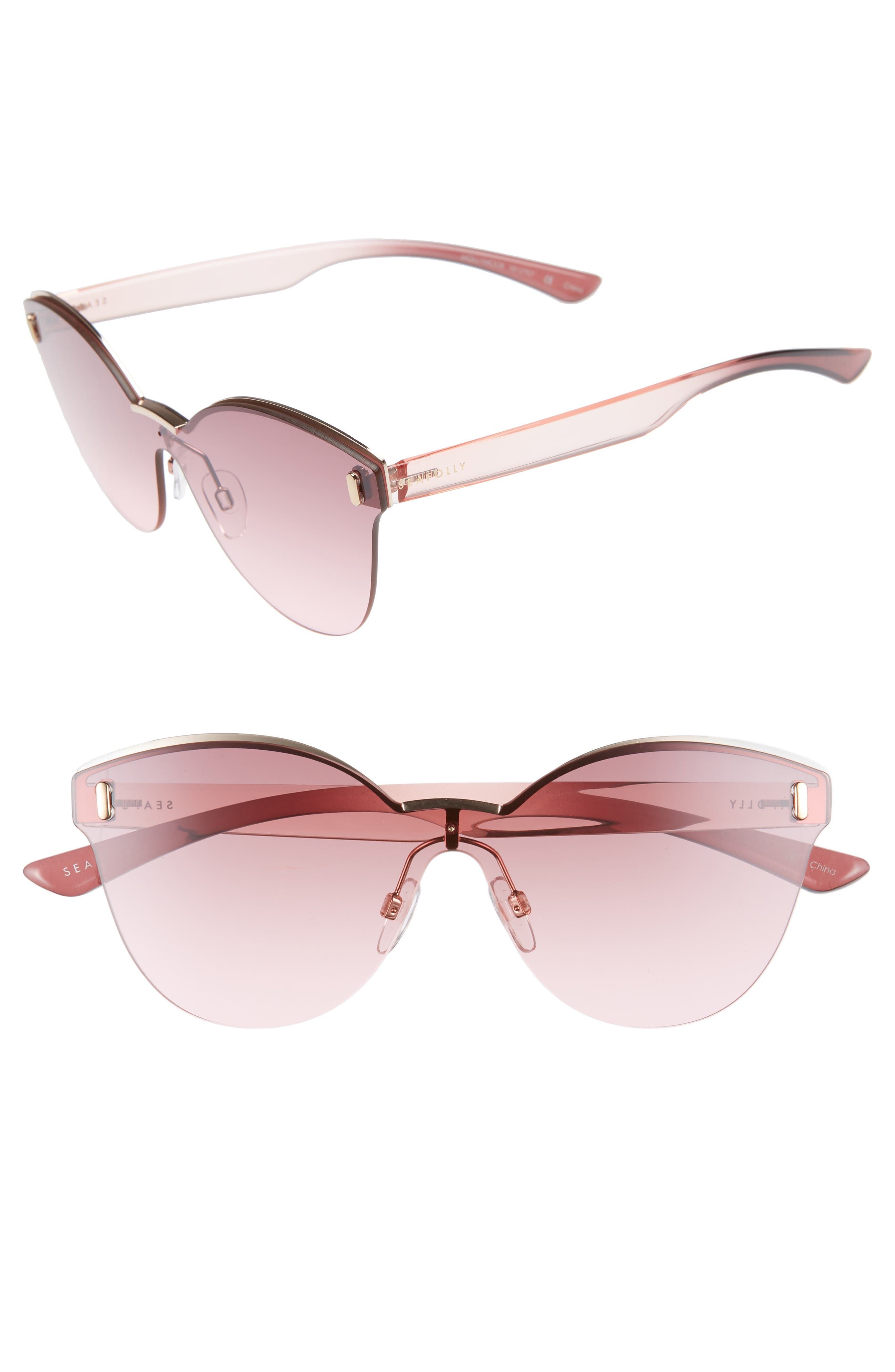 SEAFOLLY MOLLYMOCK 66MM CAT EYE SUNGLASSES - PLUM/ ROSE