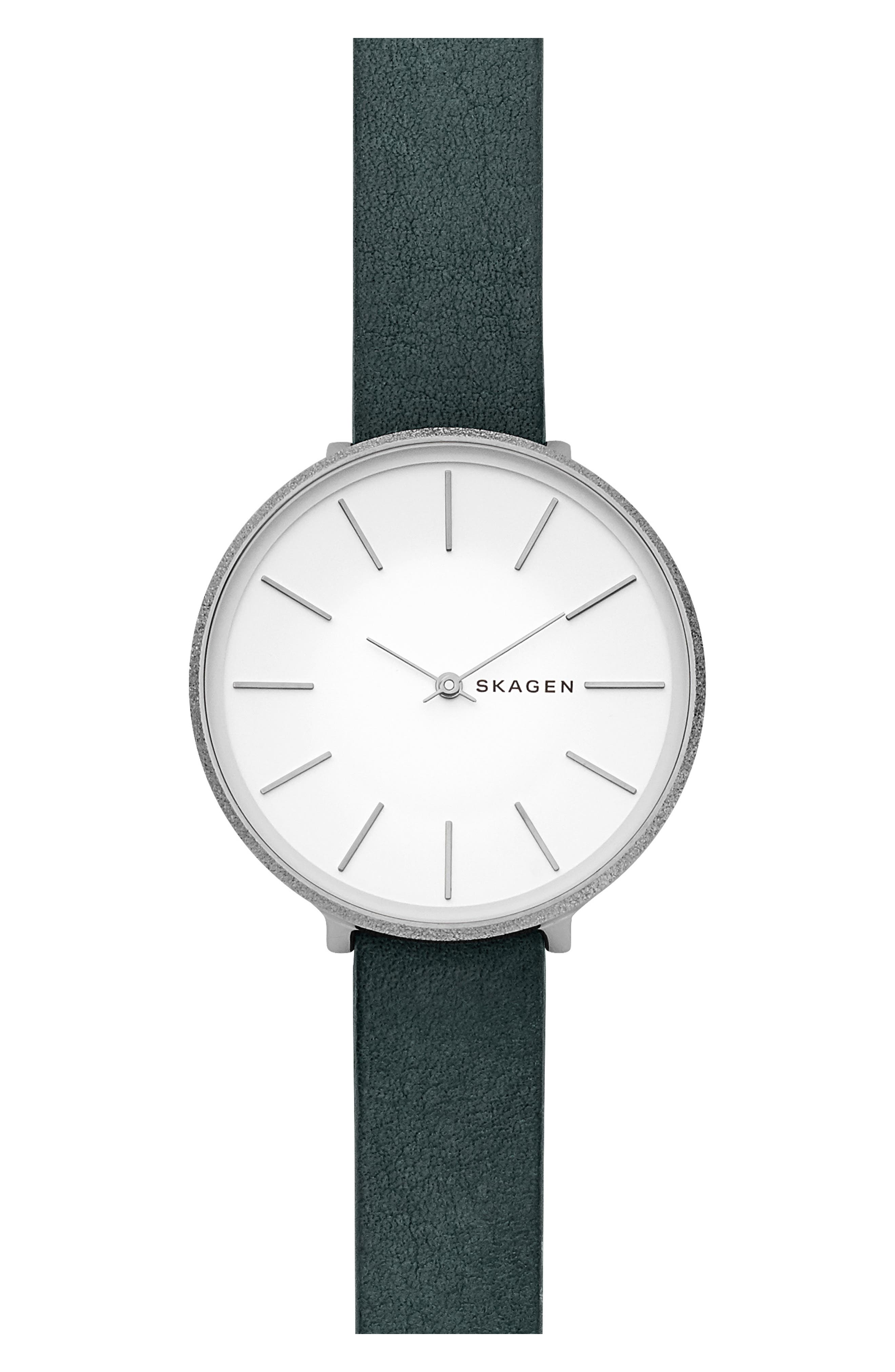 SKAGEN WOMEN'S KAROLINA GREEN LEATHER STRAP WATCH 38MM