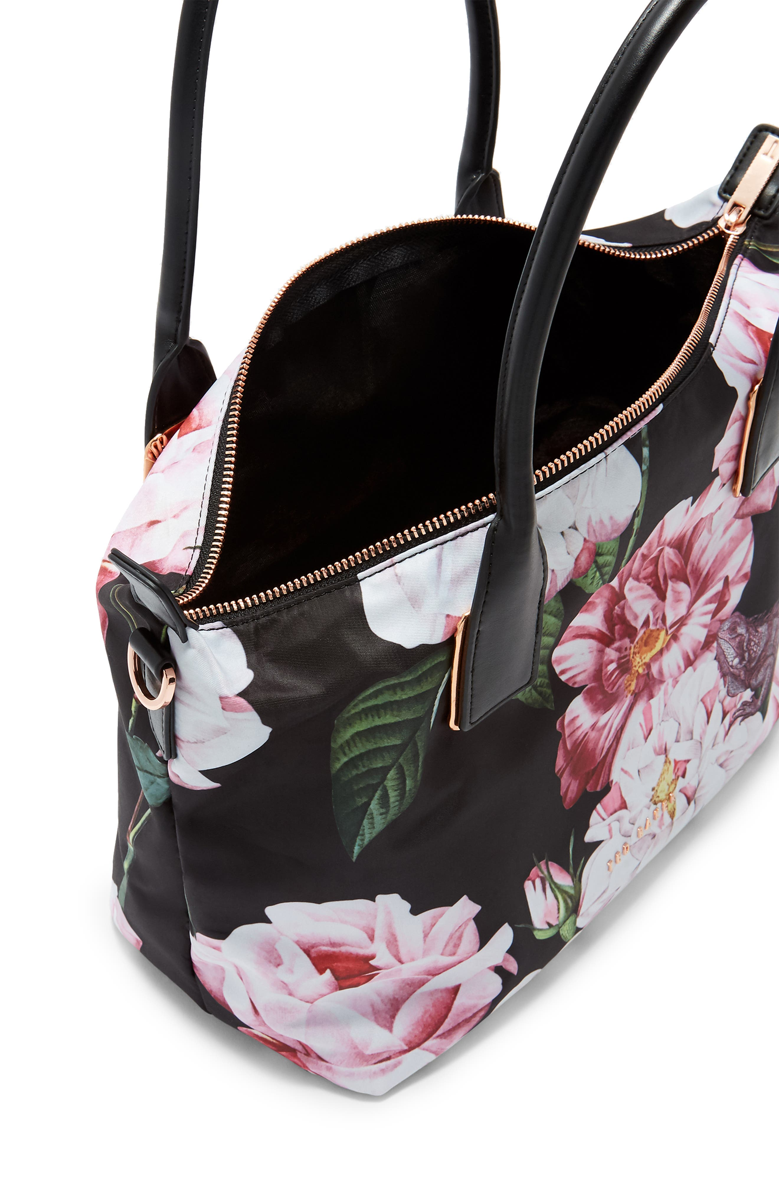 Small Iguazu Print Nylon Tote,                             Alternate thumbnail 3, color,                             Black
