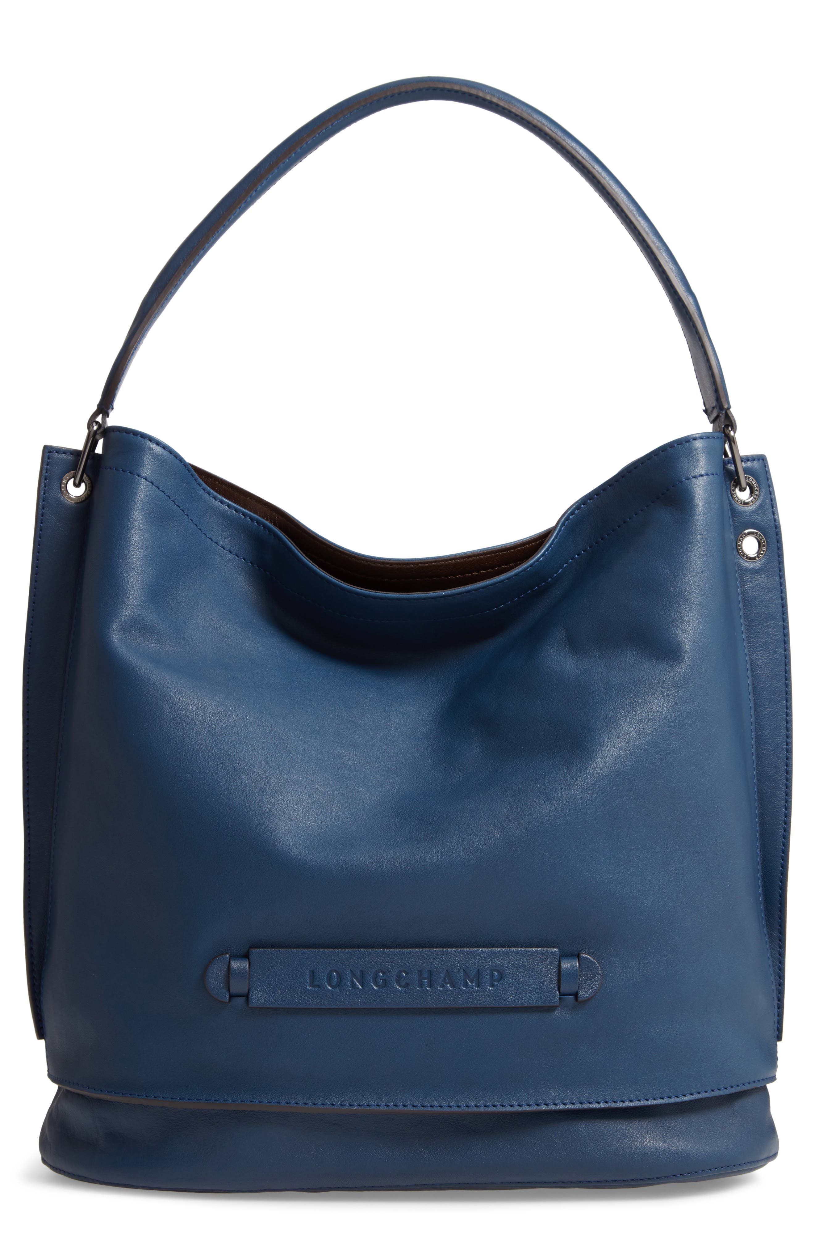 '3D' LEATHER HOBO - BLUE