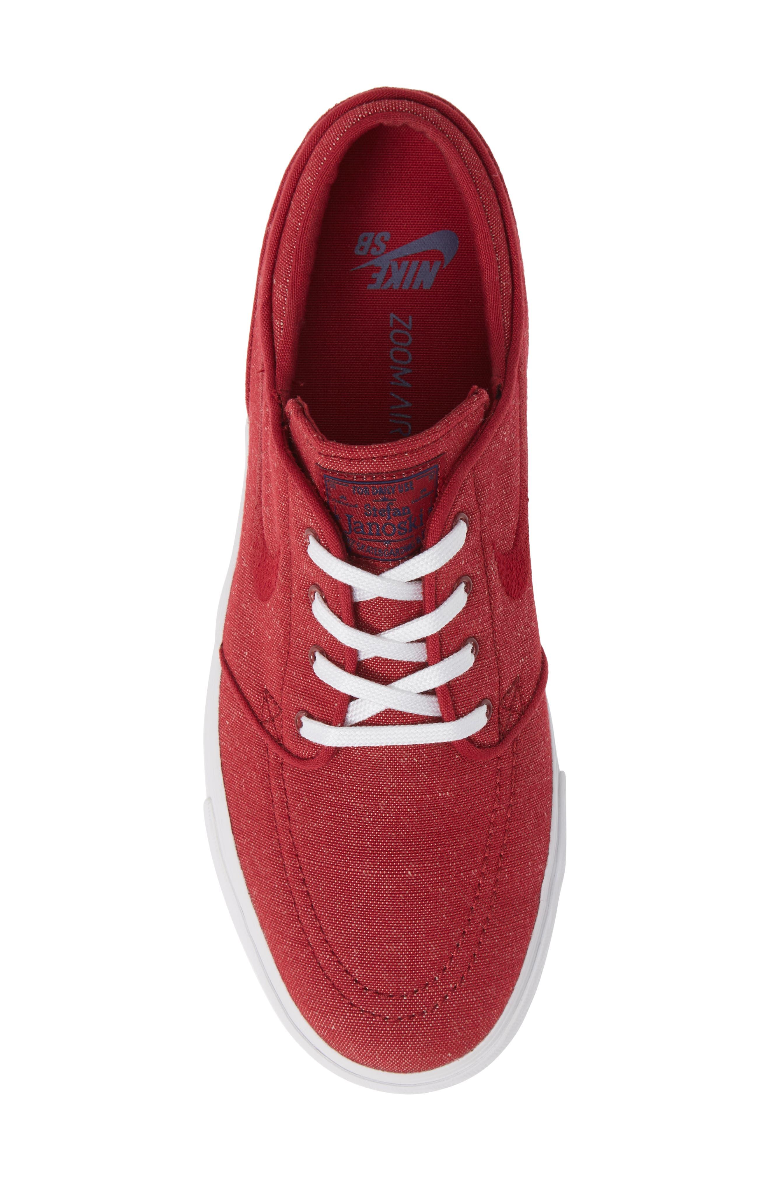 Zoom - Stefan Janoski SB Canvas Skate Shoe,                             Alternate thumbnail 3, color,                             Red Crush/ White