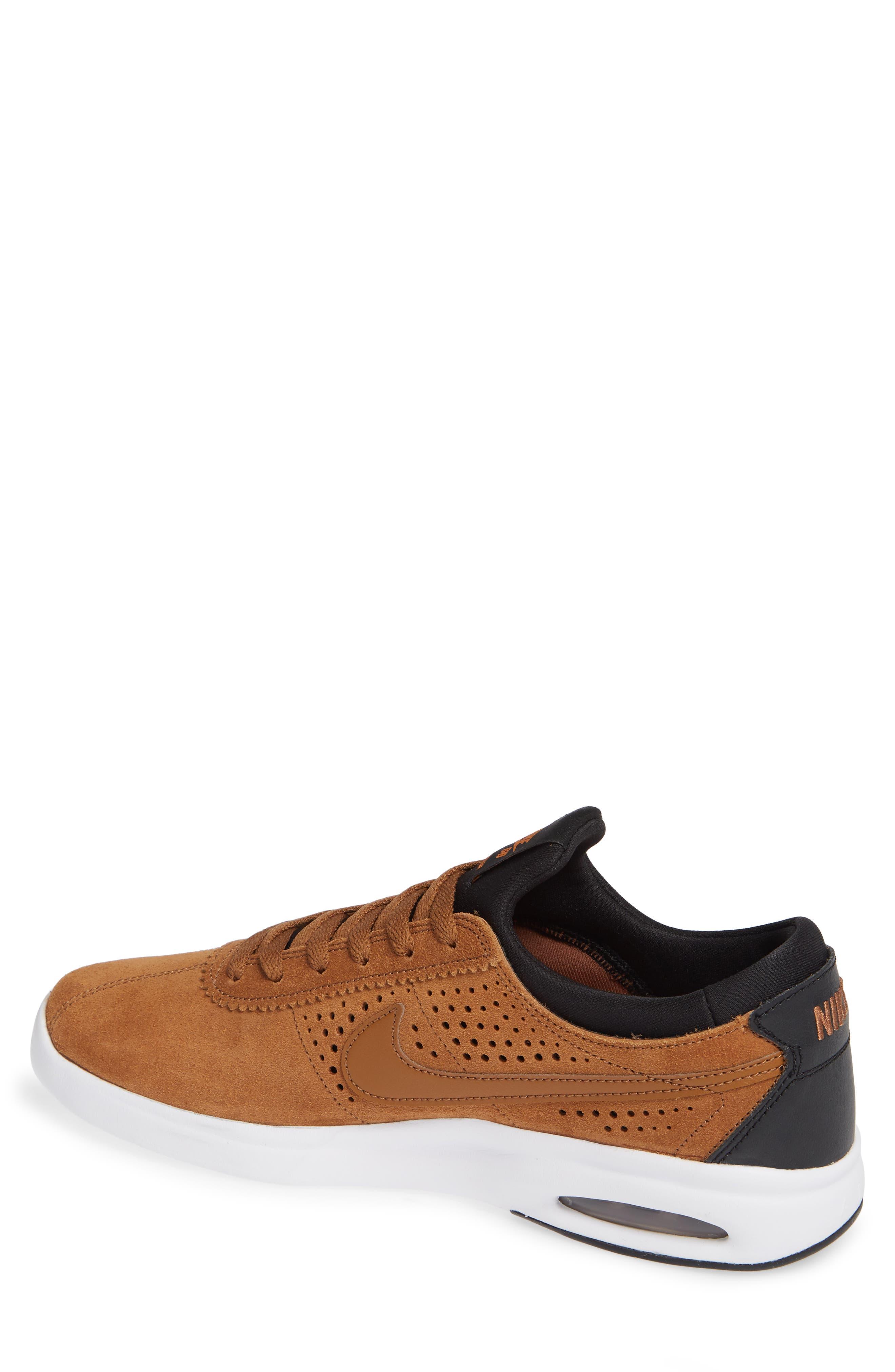 SB Air Max Bruin Vapor Skateboarding Sneaker,                             Alternate thumbnail 2, color,                             British Tan/ Black/ Monarch