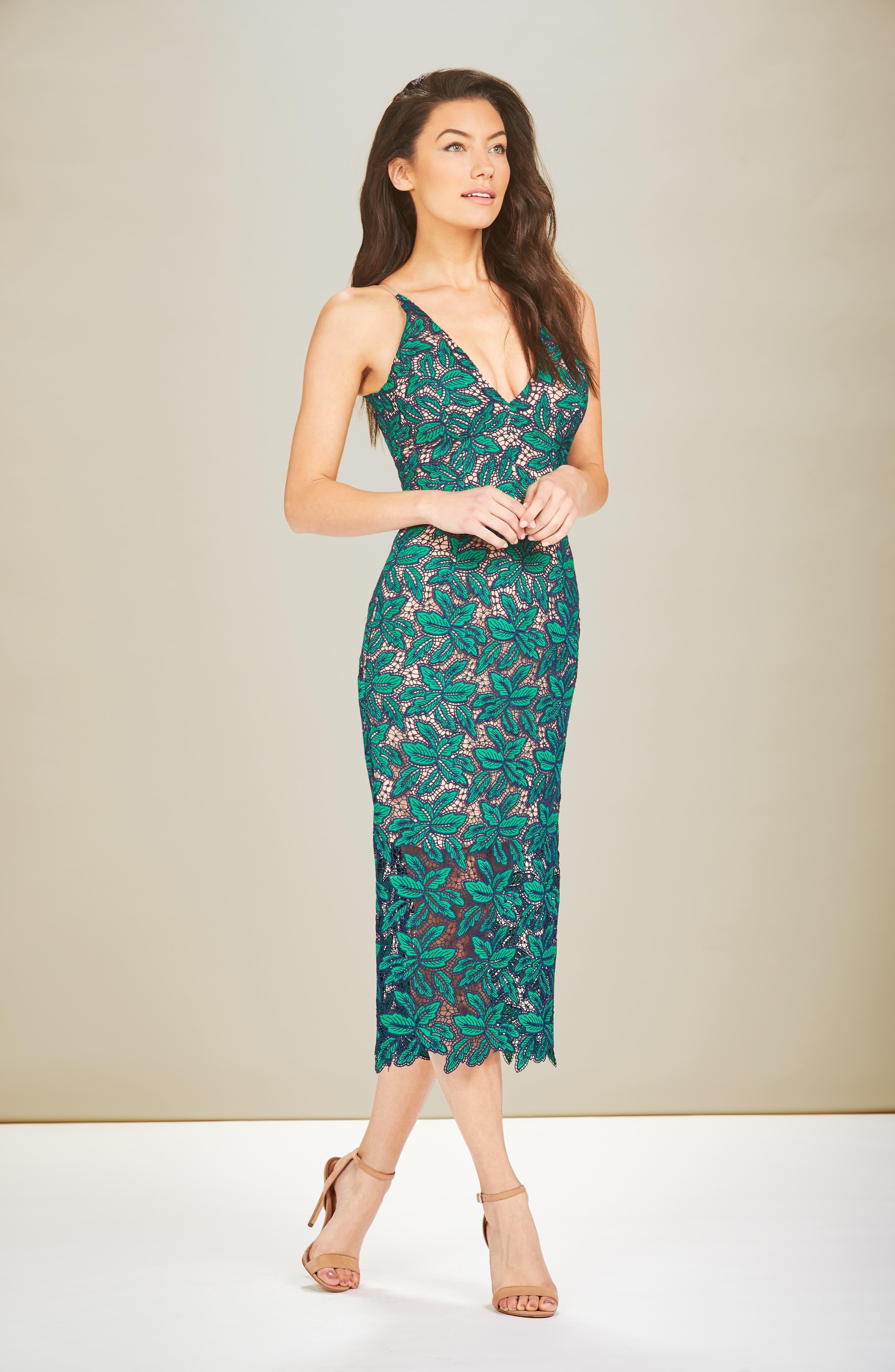 Aurora Lace Sheath Dress,                             Alternate thumbnail 2, color,                             Kelli/ Navy