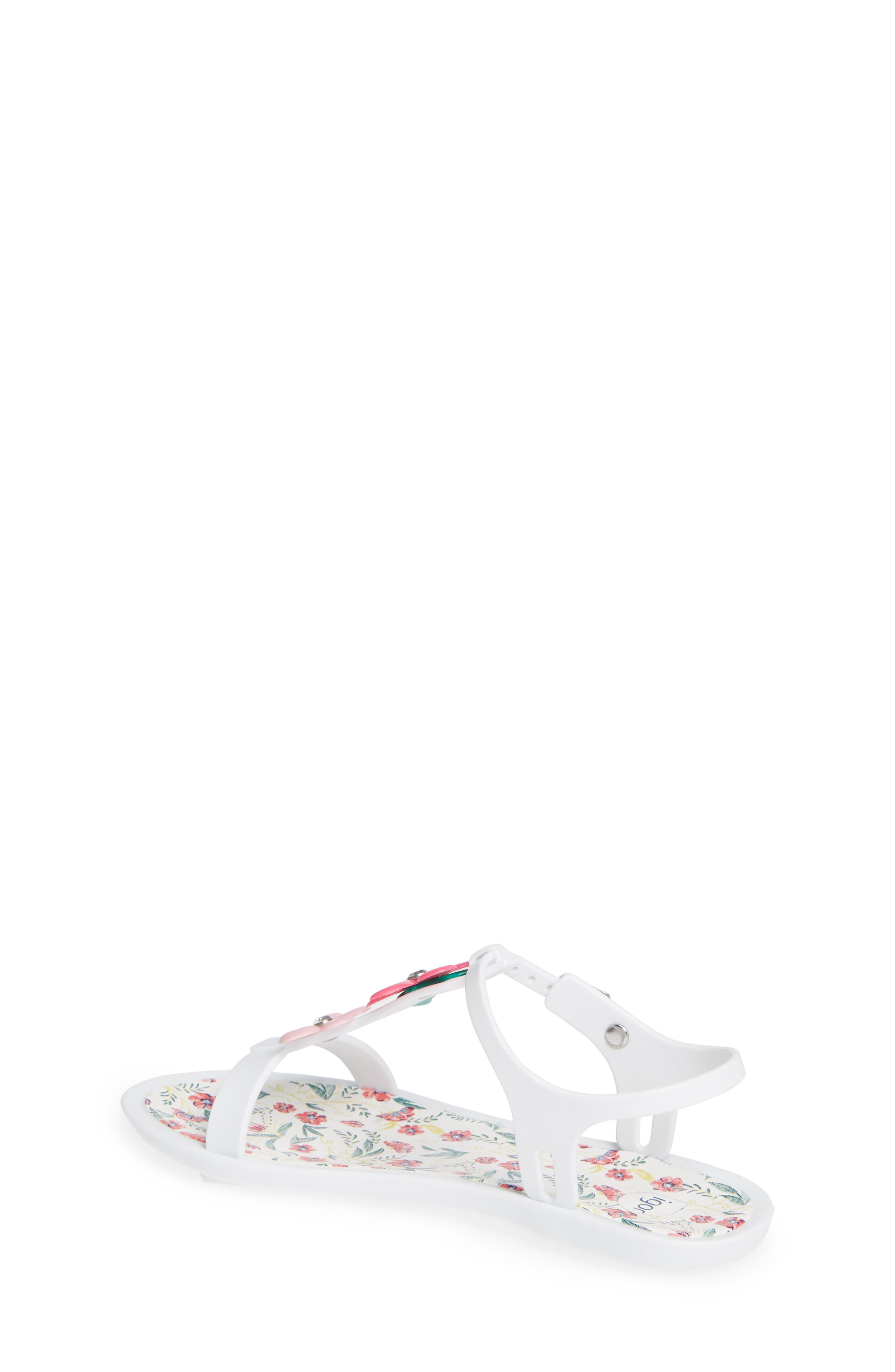 Tricia Floral T-Strap Sandal,                             Alternate thumbnail 2, color,                             White
