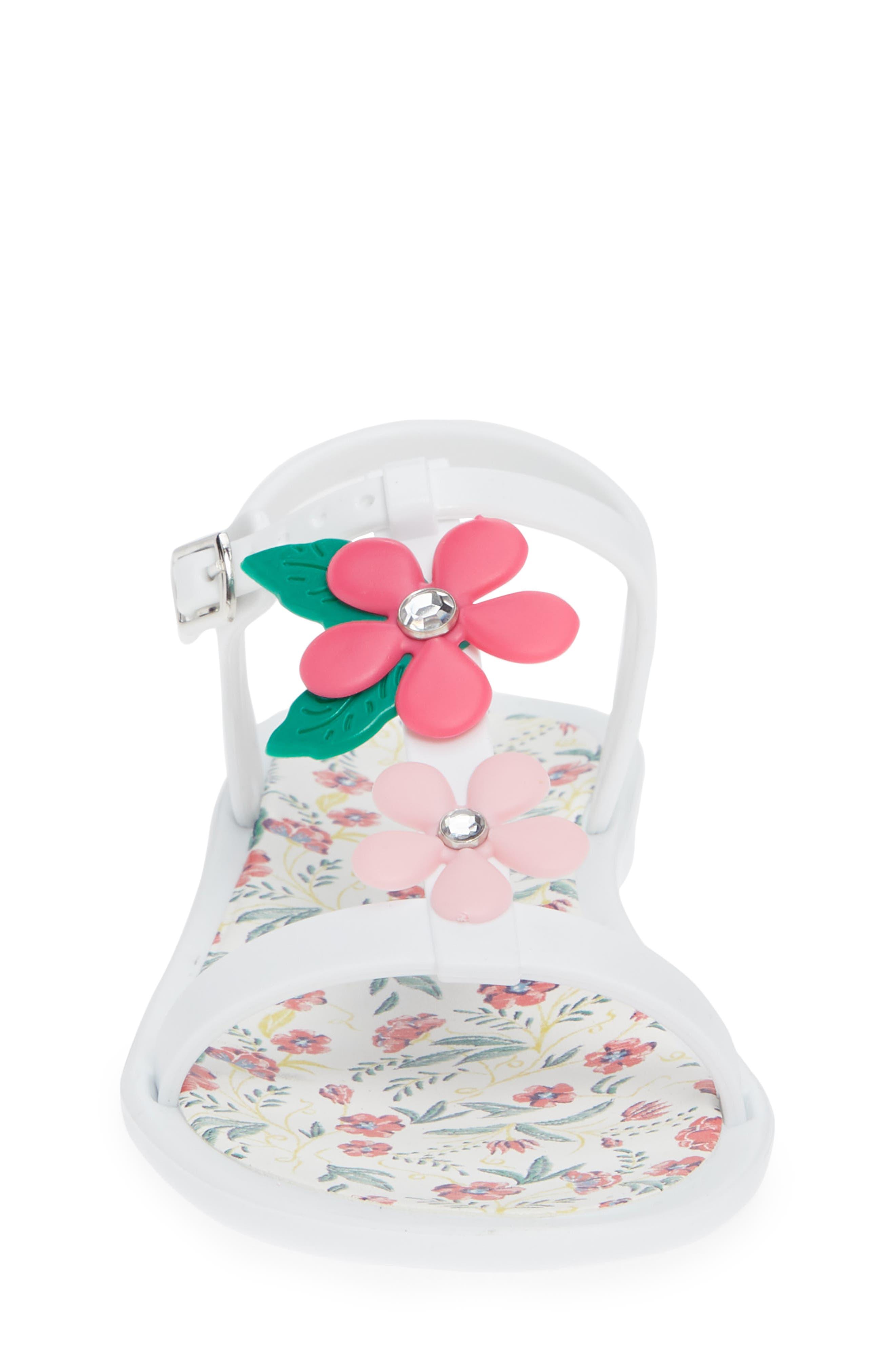Tricia Floral T-Strap Sandal,                             Alternate thumbnail 6, color,                             White