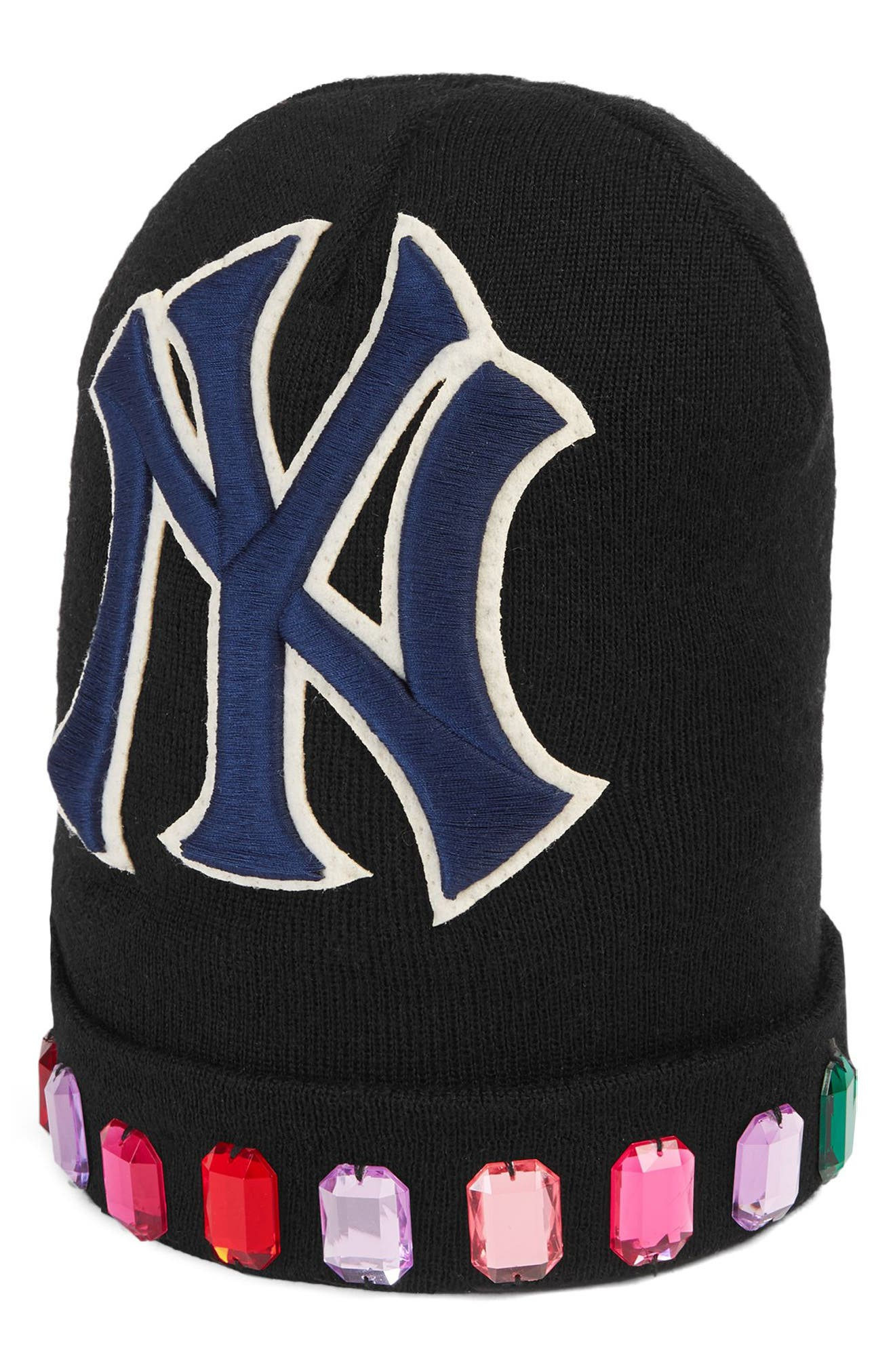 NY JEWEL WOOL KNIT CAP - BLACK