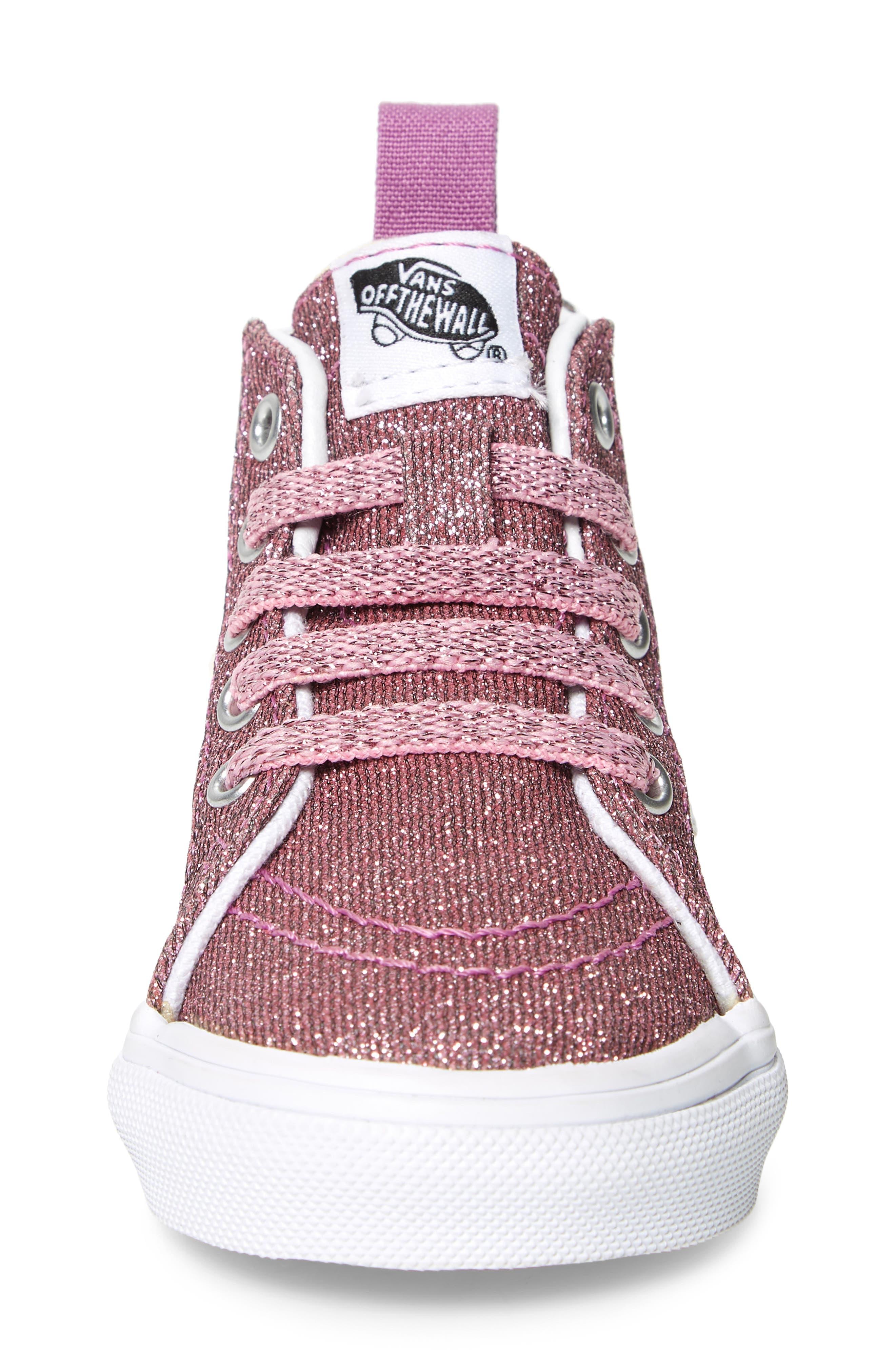 Sk8-Hi Zip Sneaker,                             Alternate thumbnail 5, color,                             Lurex Glitter Pink/ True White