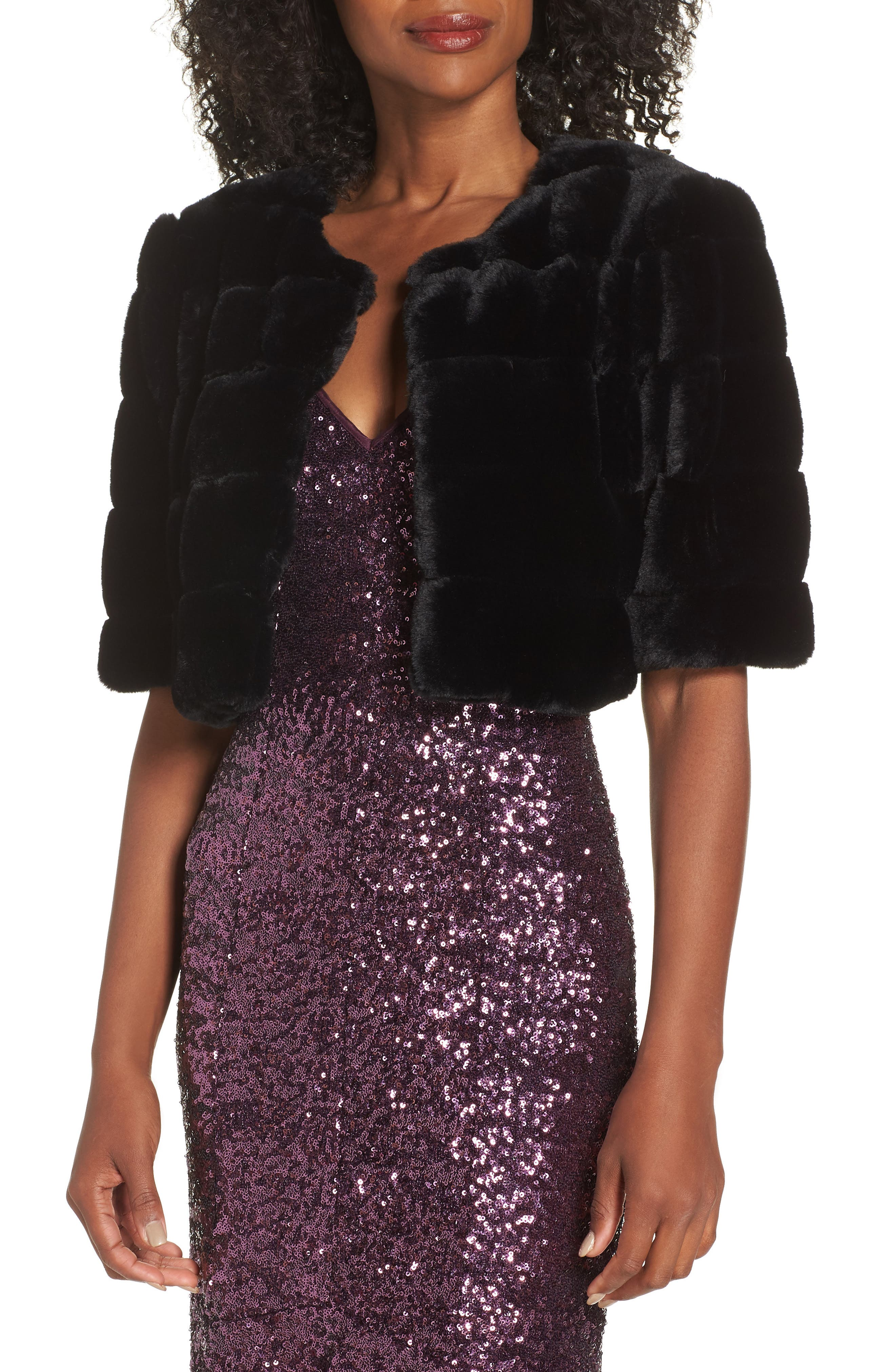 Green synthetic fur sequin stars  100/% PE