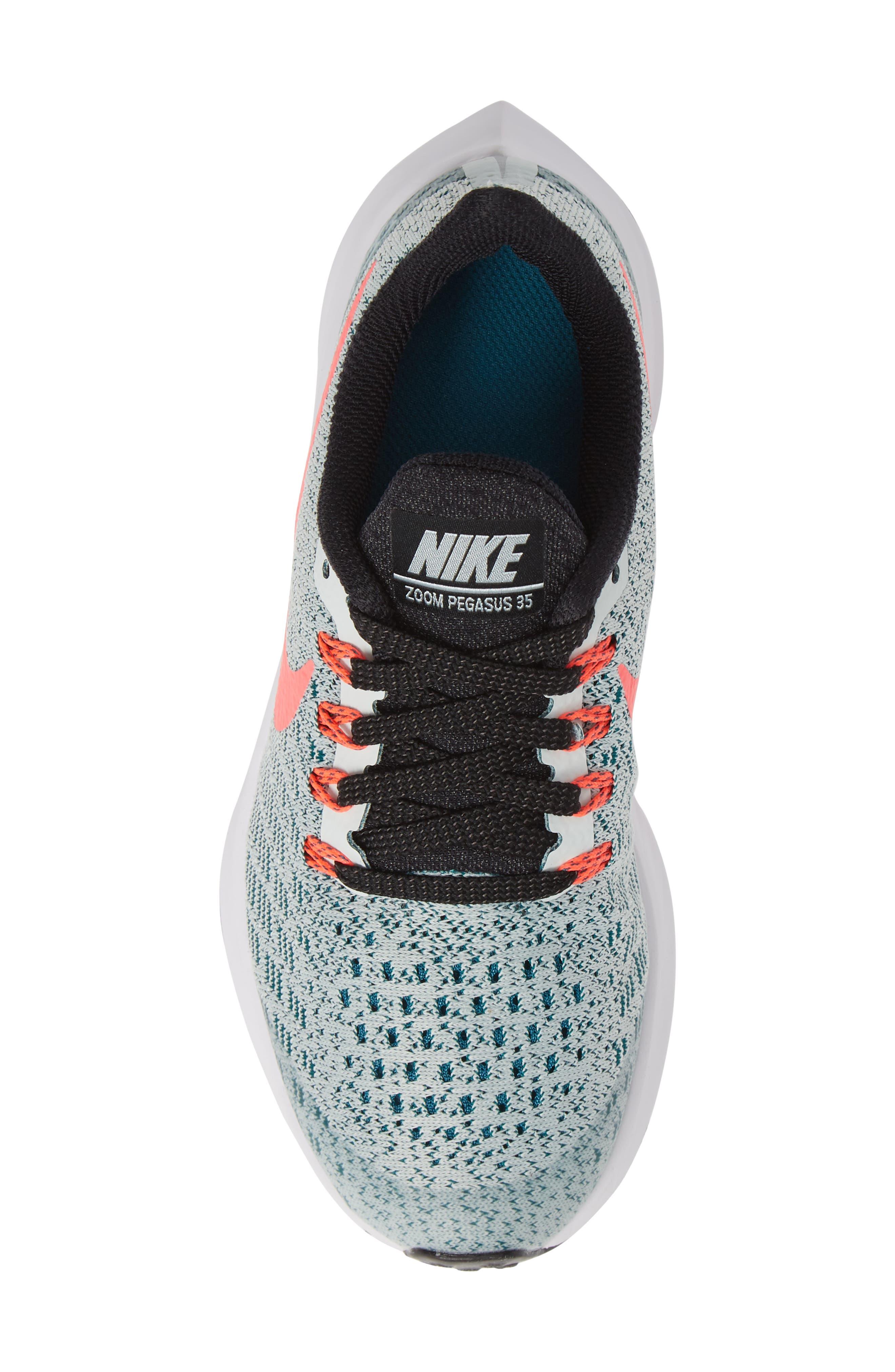 Air Zoom Pegasus 35 Sneaker,                             Alternate thumbnail 5, color,                             Grey/ Hot Punch/ Teal/ Black