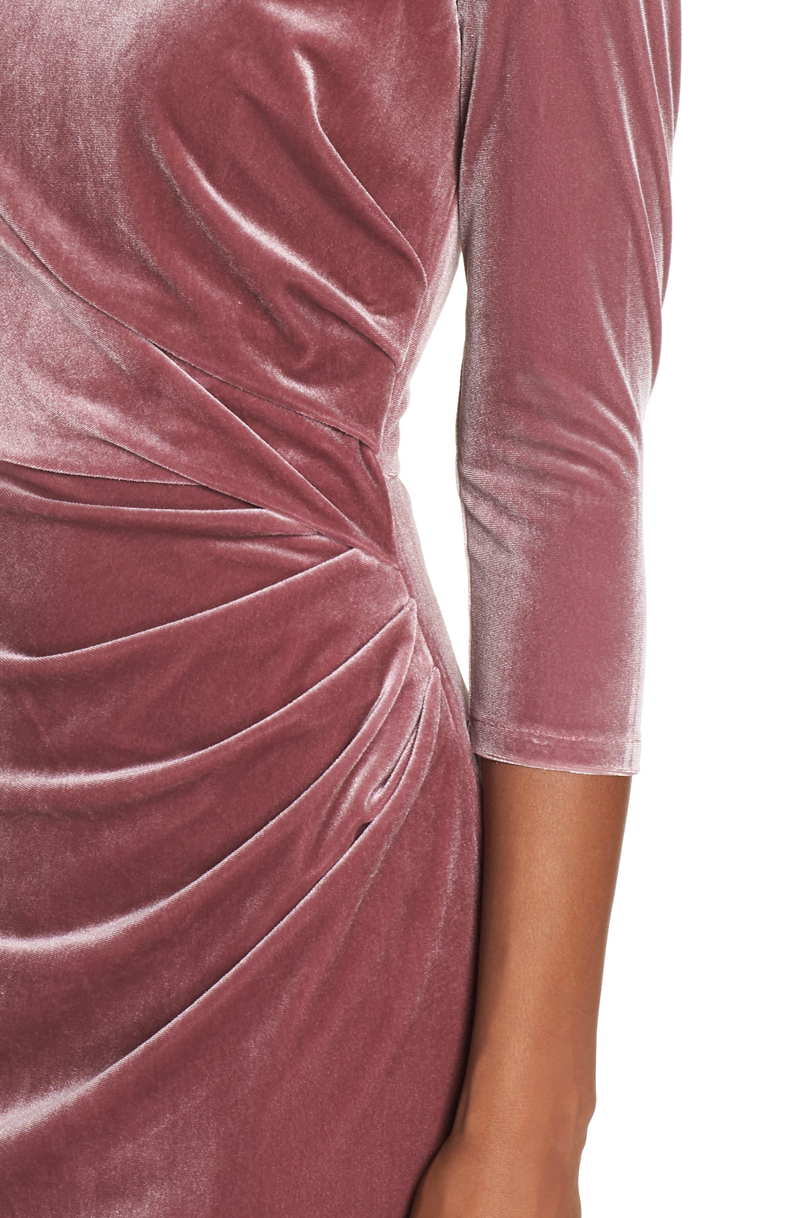 Velvet Sheath Dress,                             Alternate thumbnail 4, color,                             Rose