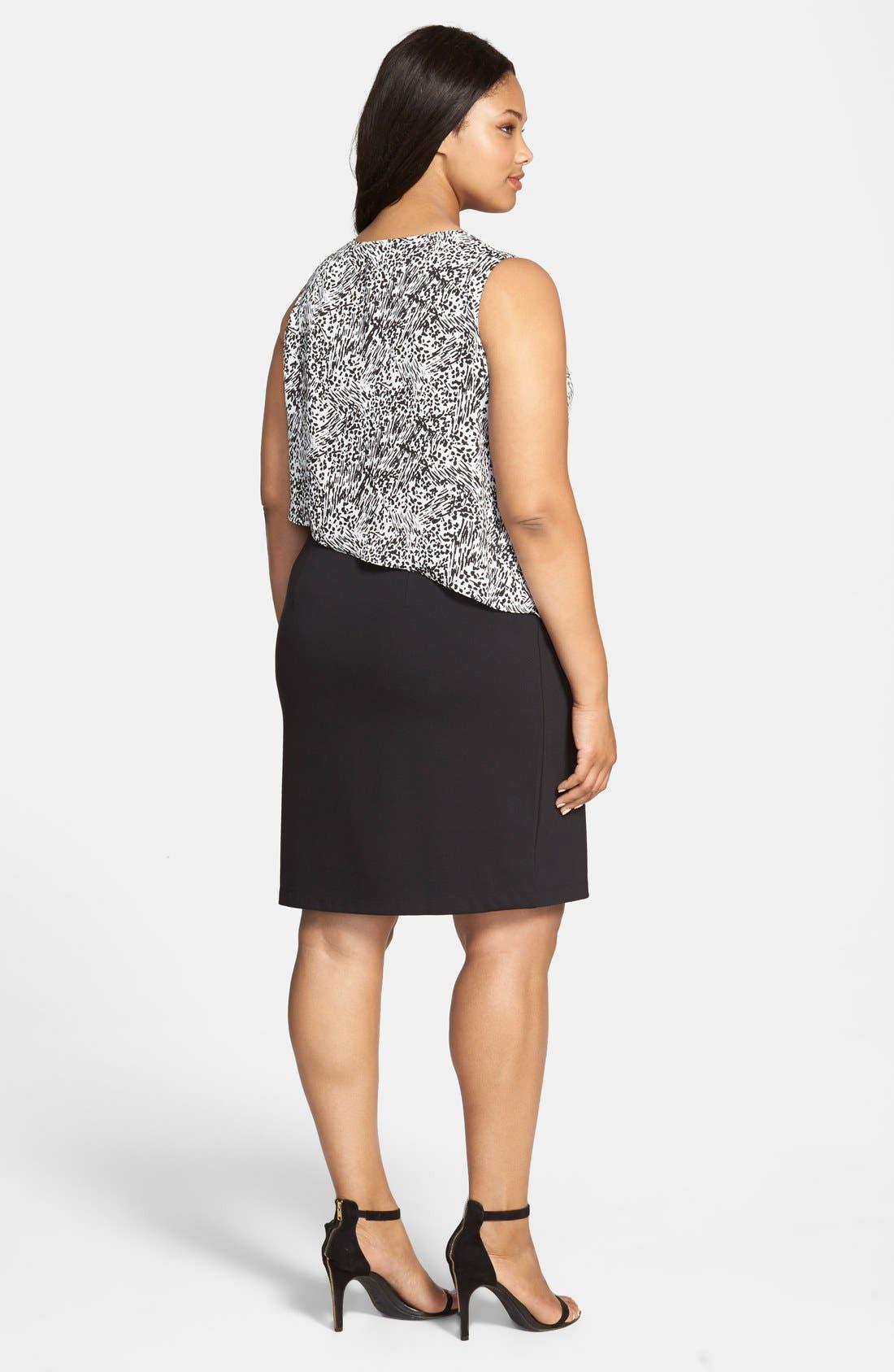 Alternate Image 2  - DKNYC Animal Print Overlay Ponte Sheath Dress (Plus Size)