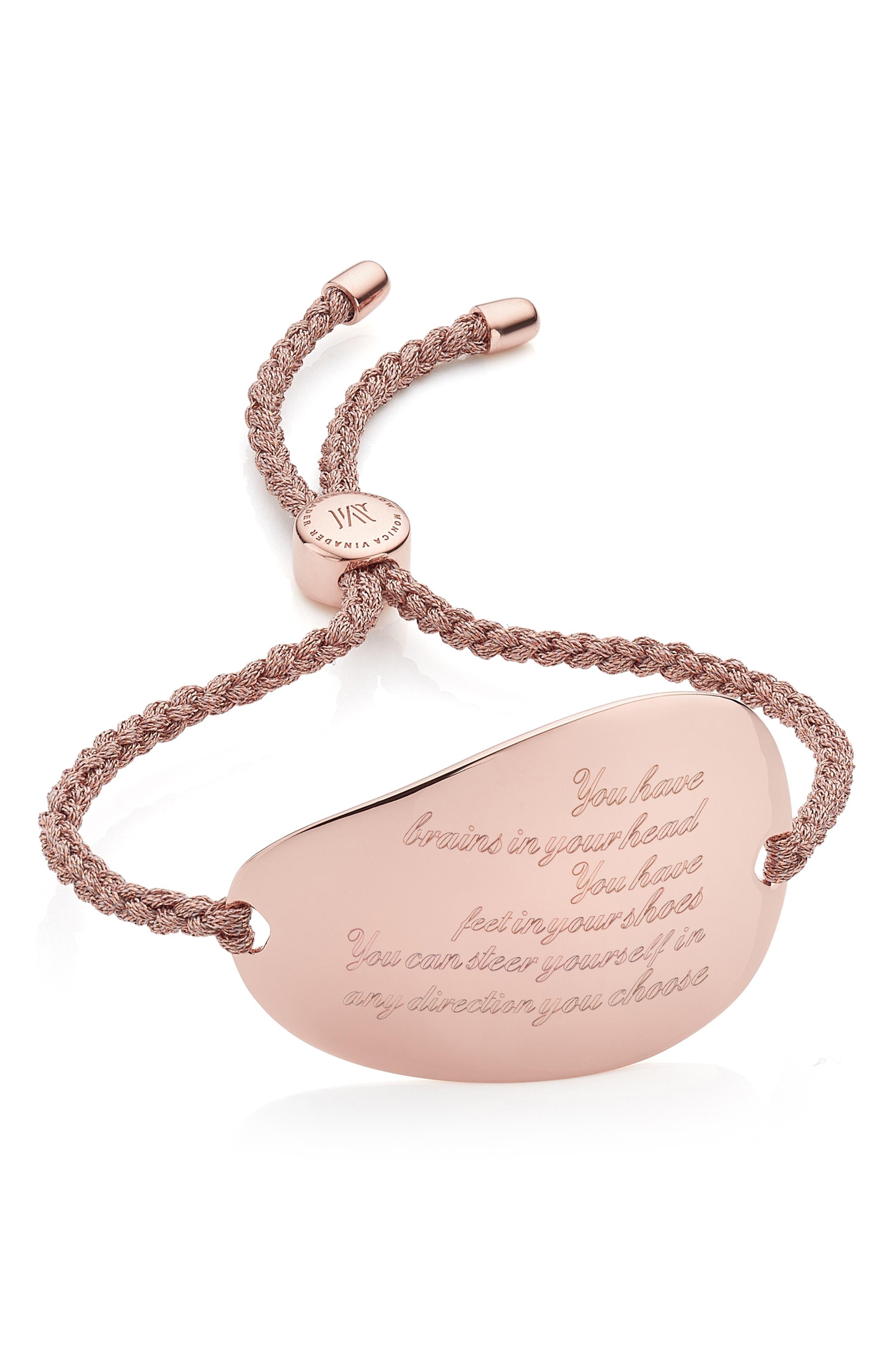 Engravable Nura Friendship Bracelet,                             Alternate thumbnail 2, color,                             Rose Gold