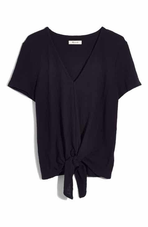 Madewell Texture & Thread V-Neck Modern Tie-Front Top (Regular & Plus)