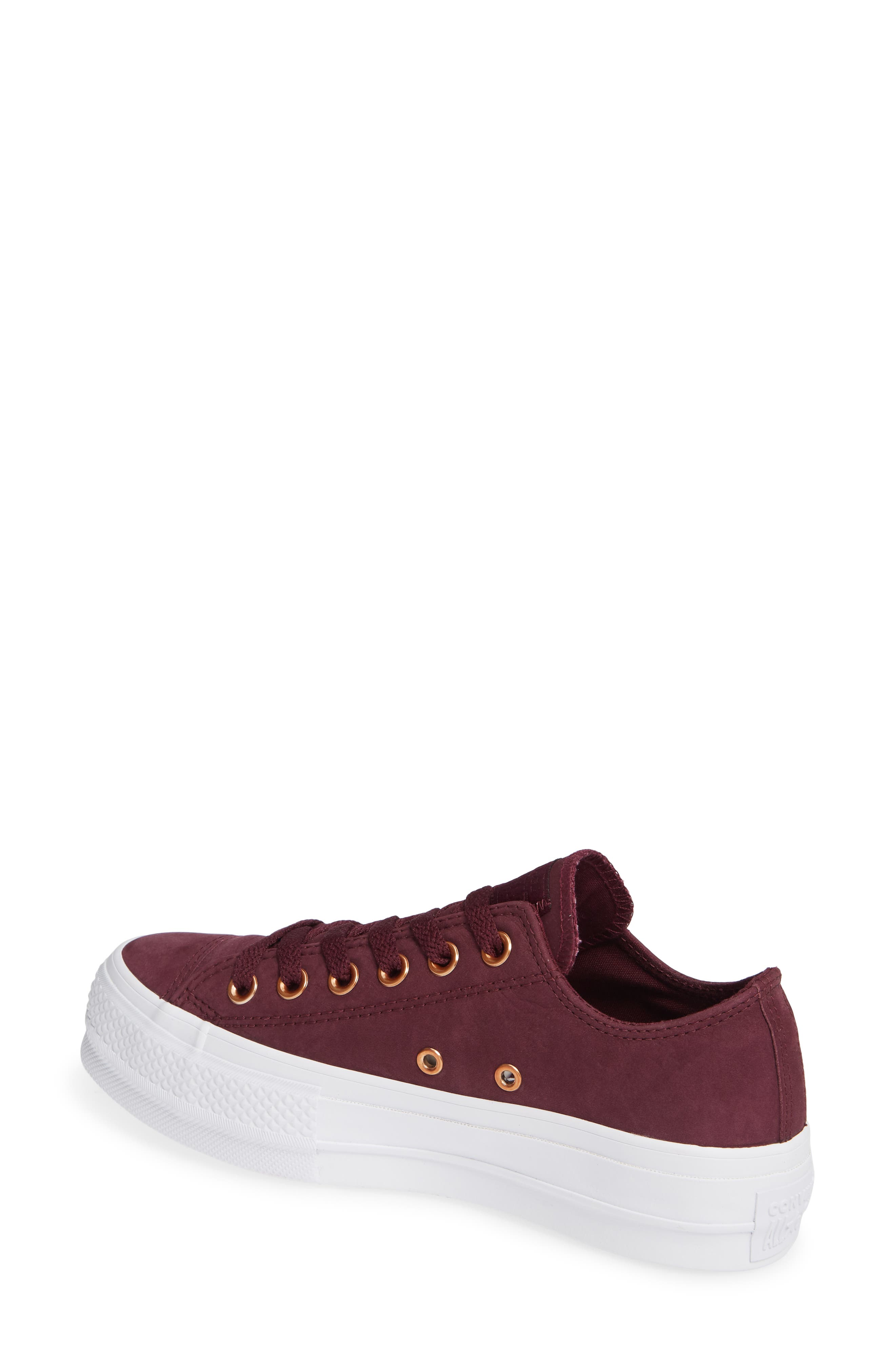 Chuck Taylor<sup>®</sup> All Star<sup>®</sup> Platform Sneaker,                             Alternate thumbnail 2, color,                             Dark Sangria Nubuck