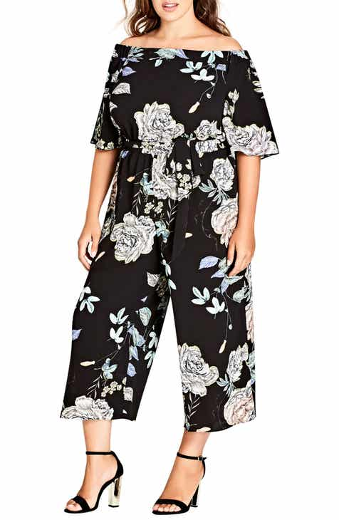 d2f15ef37e2a City Chic Flower Show Off the Shoulder Jumpsuit (Plus Size)
