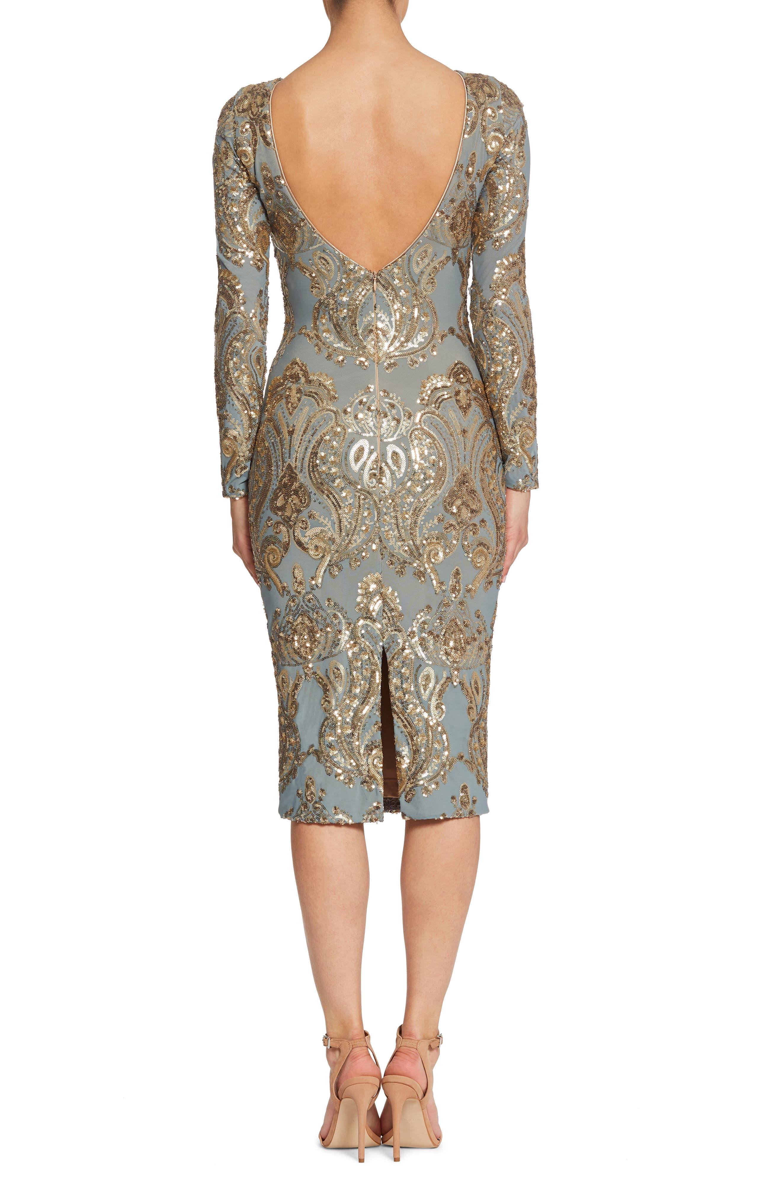 Emery Sequin Sheath Dress,                             Alternate thumbnail 2, color,                             Teal/ Gold