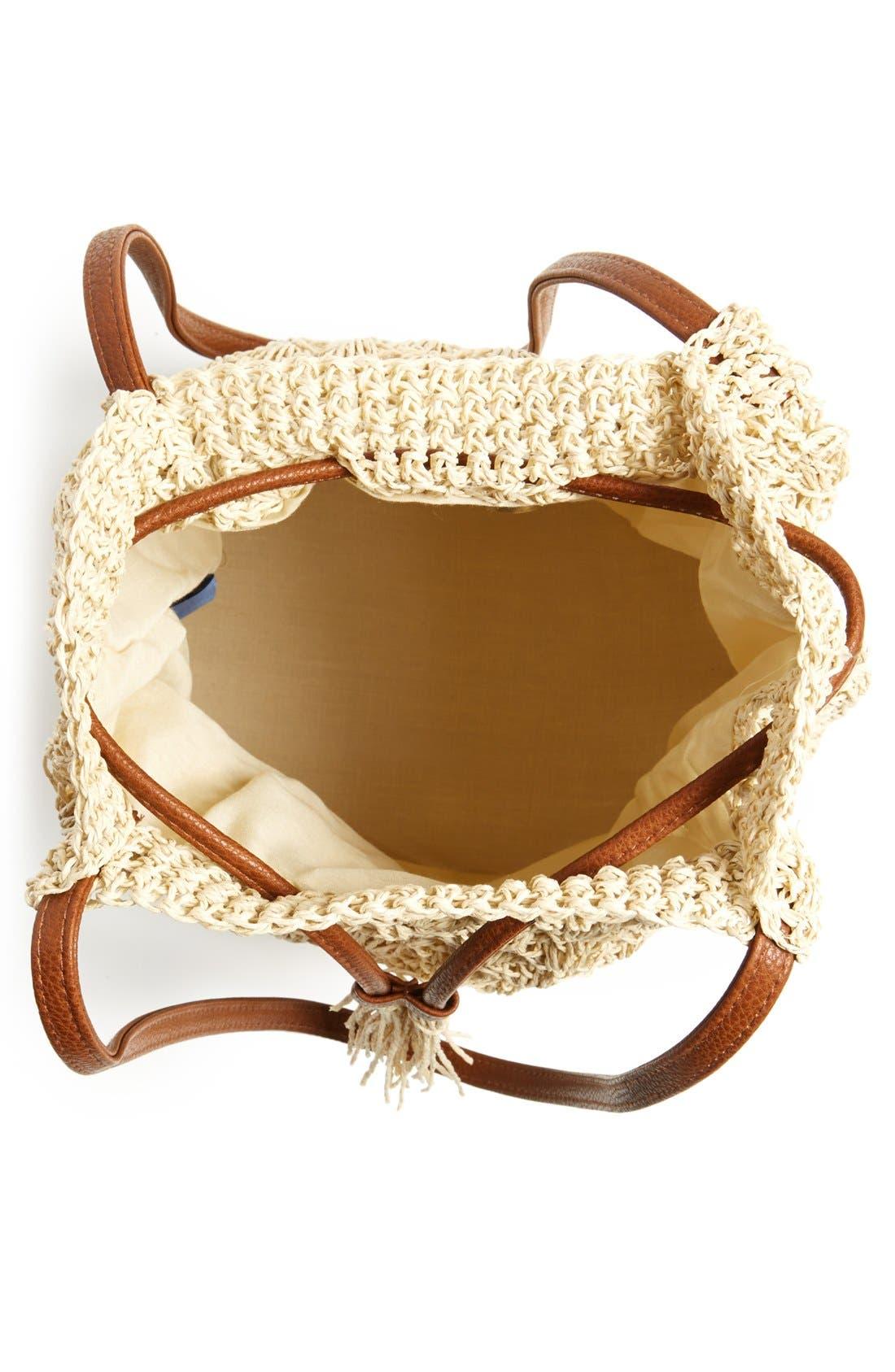 Alternate Image 3  - Street Level Crochet Straw Bucket Bag