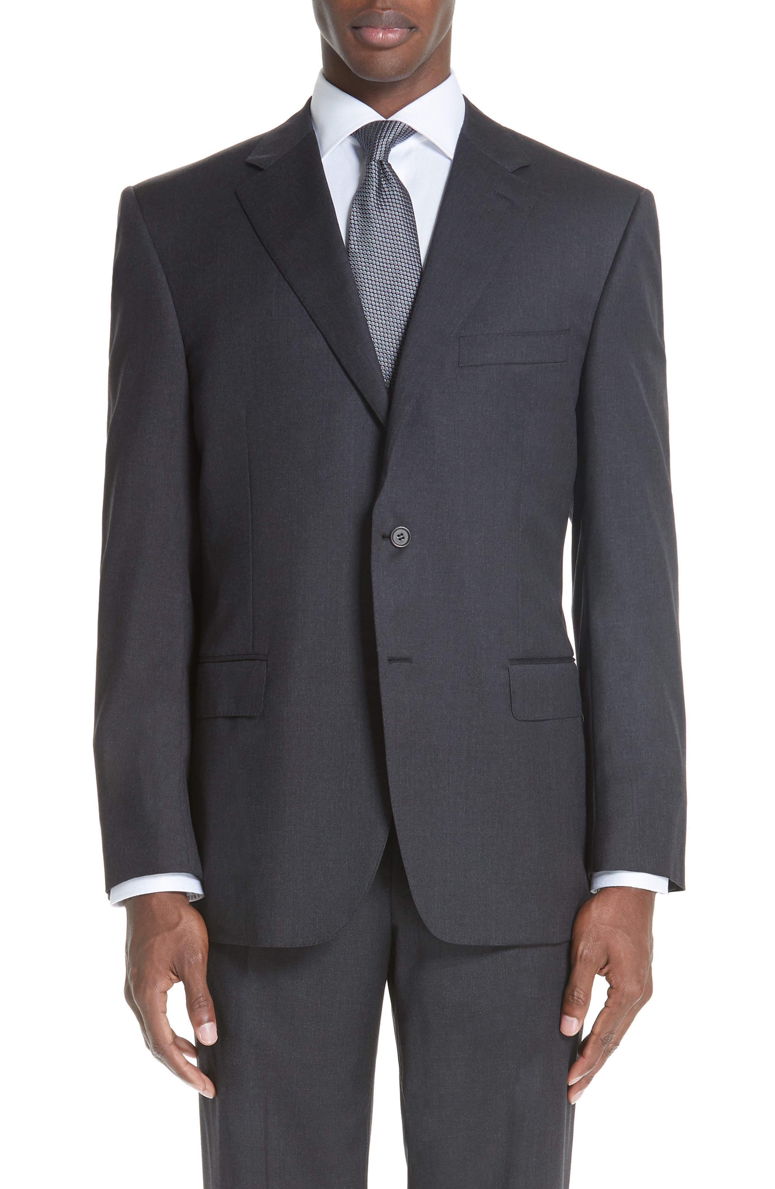 Trim Fit Wool Suit,                             Alternate thumbnail 4, color,                             Charcoal
