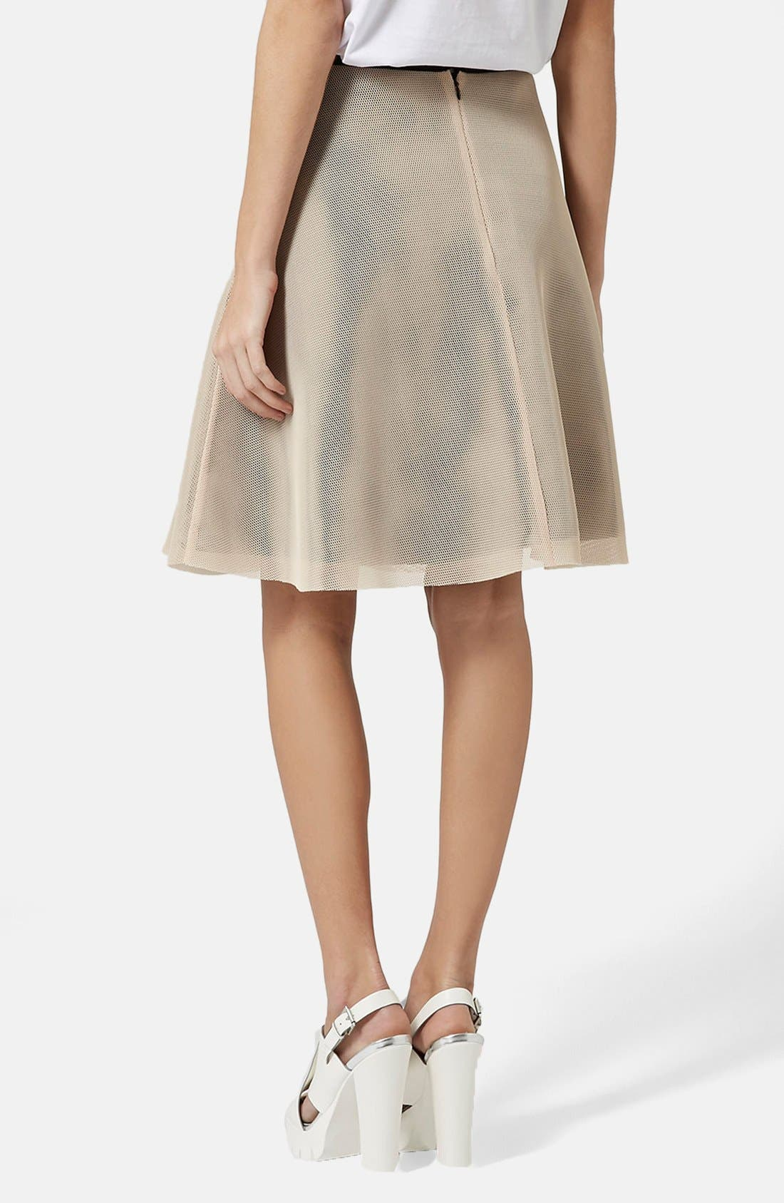 Alternate Image 2  - Topshop Ruffled A-Line Mesh Skirt