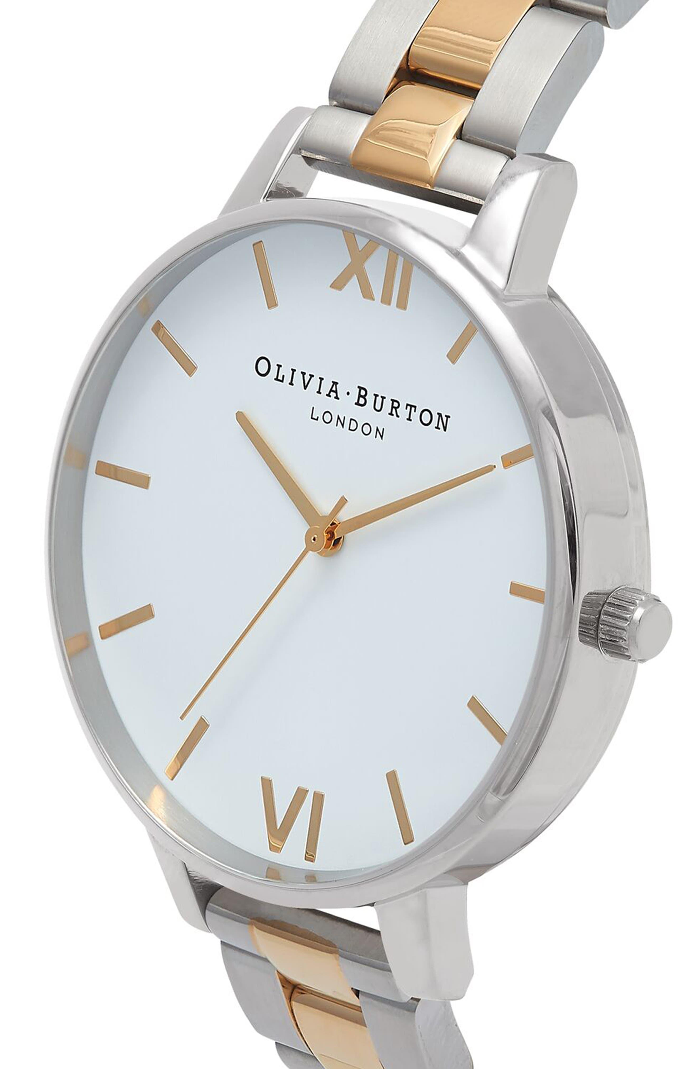 Big Dial Bracelet Watch, 38mm,                             Alternate thumbnail 3, color,                             Silver/ White/ Gold