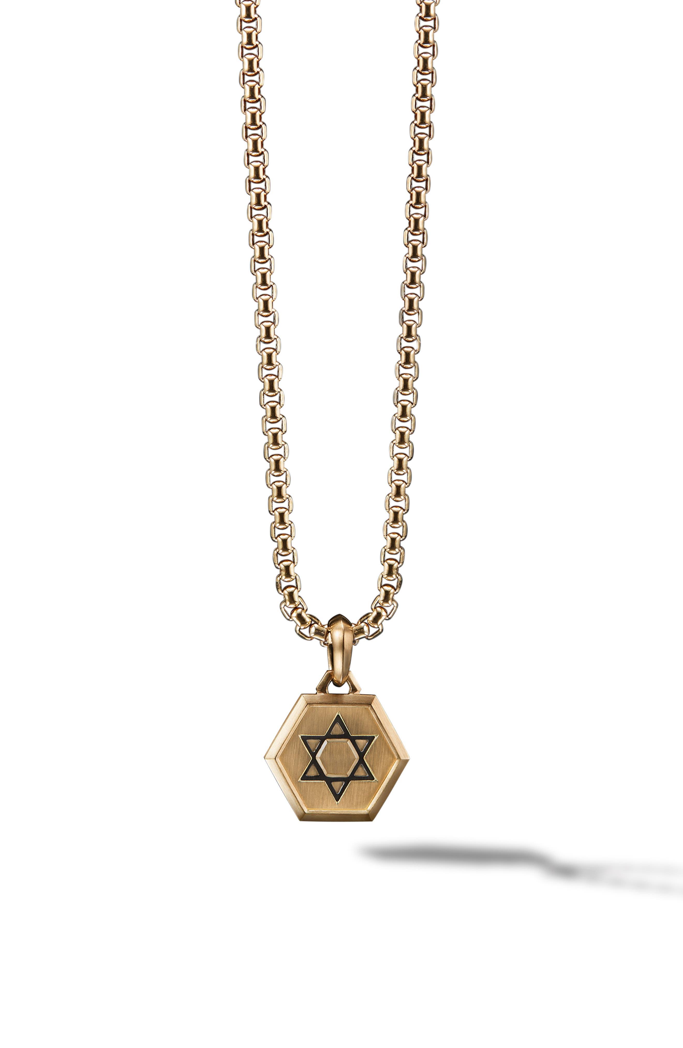 Star of David 18K Gold Amulet Enhancer,                         Main,                         color, Gold