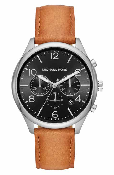 f73080af3d2c Michael Kors Merrick Leather Strap Watch