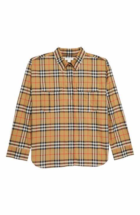 0f3c42657bbe8 Burberry Sasha Check Shirt (Little Girls   Big Girls)