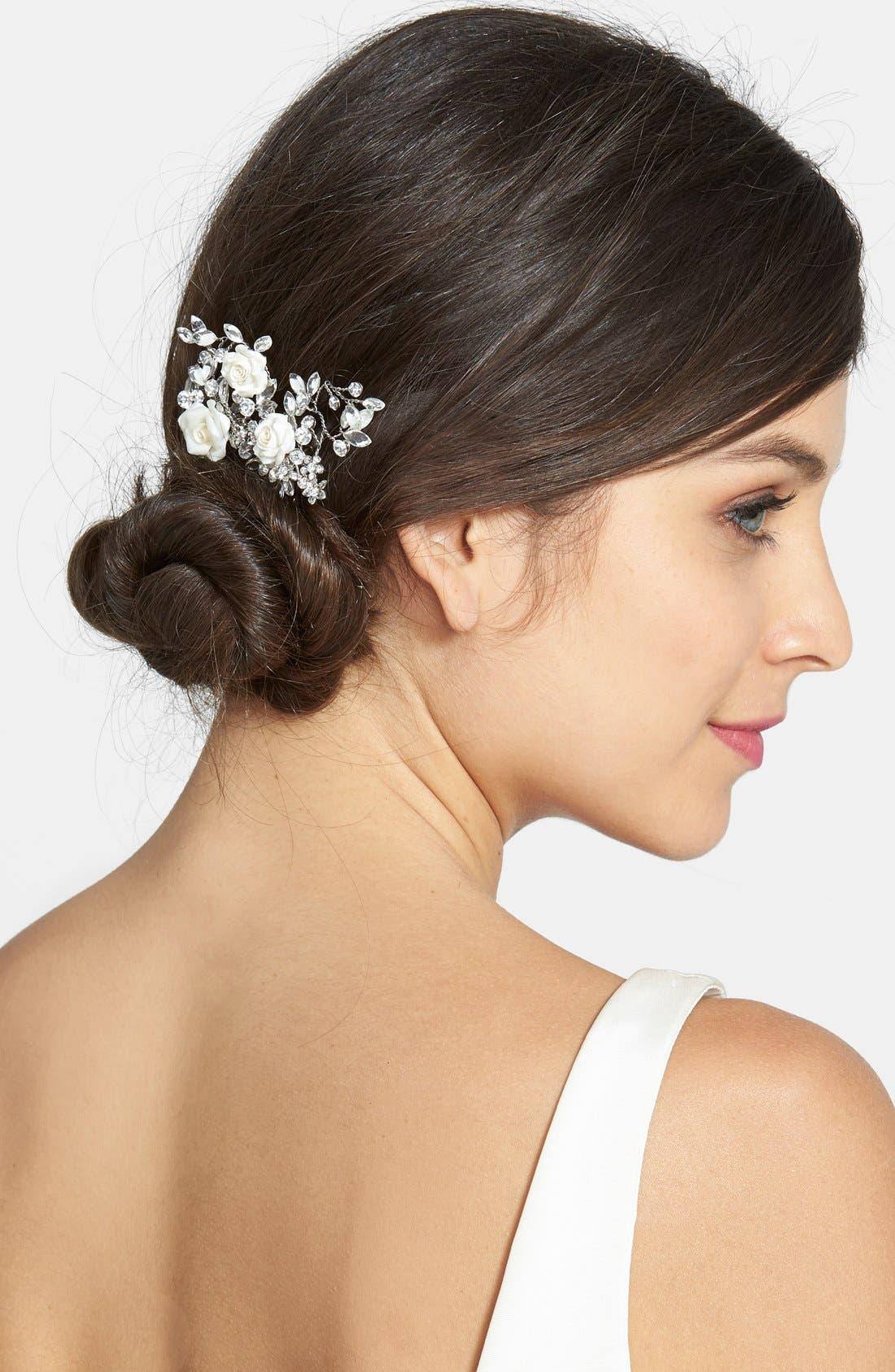 Czech Crystal Rosette Hair Comb,                         Main,                         color, Silver
