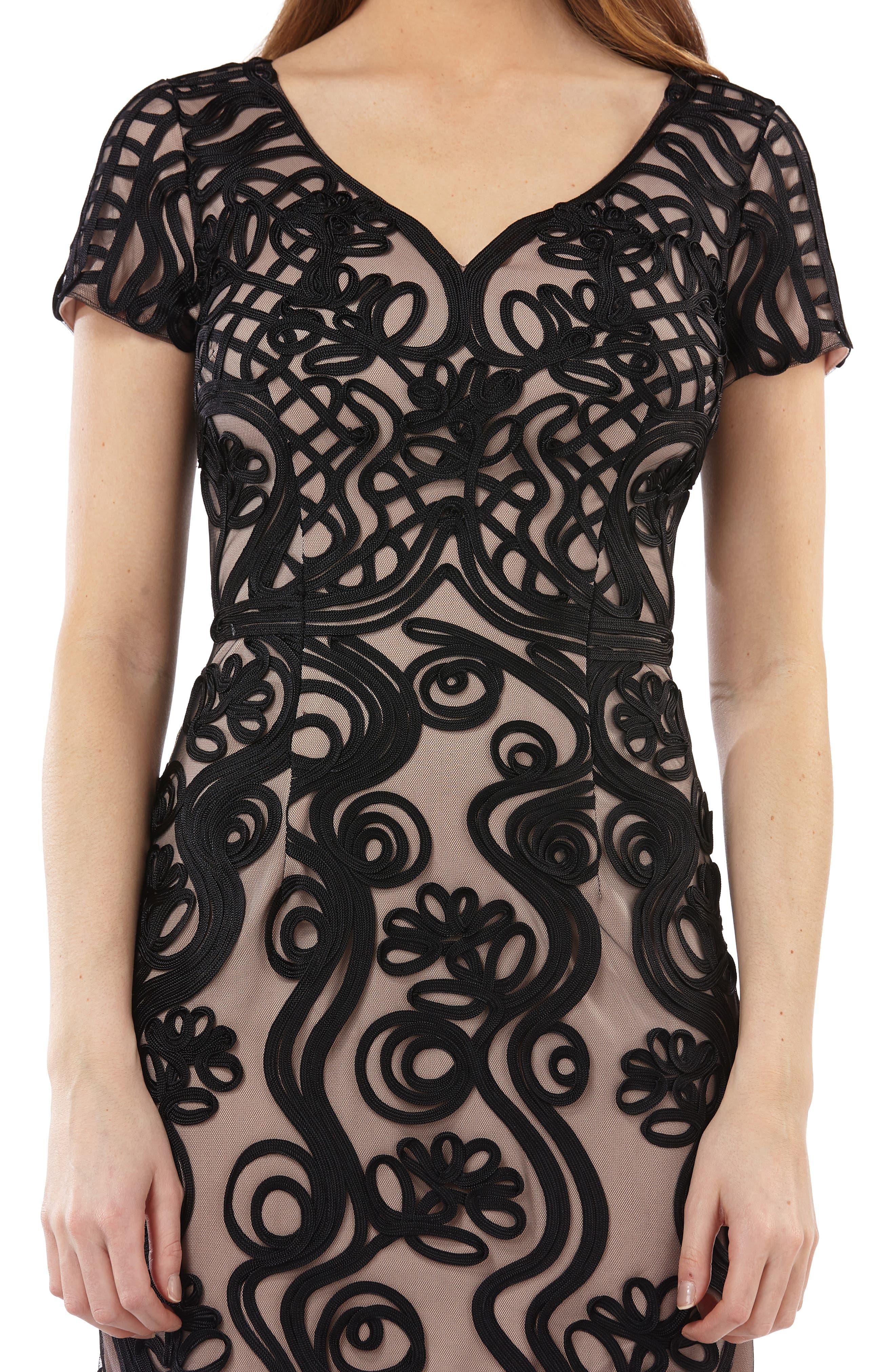Soutache Mesh Sheath Dress,                             Alternate thumbnail 3, color,                             Black/ Nude