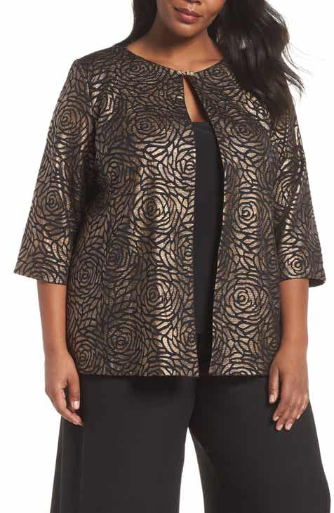 bf5e6596051c1 Alex Evenings Metallic Floral Twinset (Plus Size)
