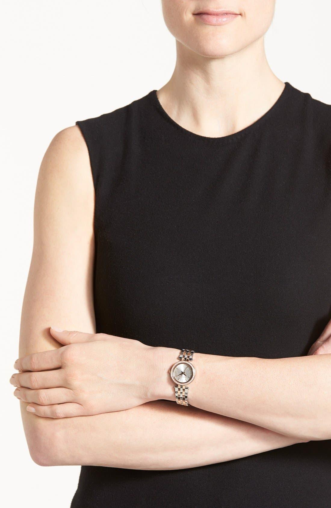 'Petite Darci' Crystal Bezel Bracelet Watch, 26mm,                             Alternate thumbnail 5, color,                             Silver/ Rose Gold