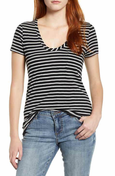 09ff67e3 Caslon® Rounded V-Neck Tee (Regular & Petite) (2 for $38)