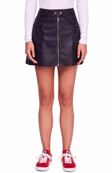 f9bee9387823 Free People High A-Line Faux Leather Miniskirt