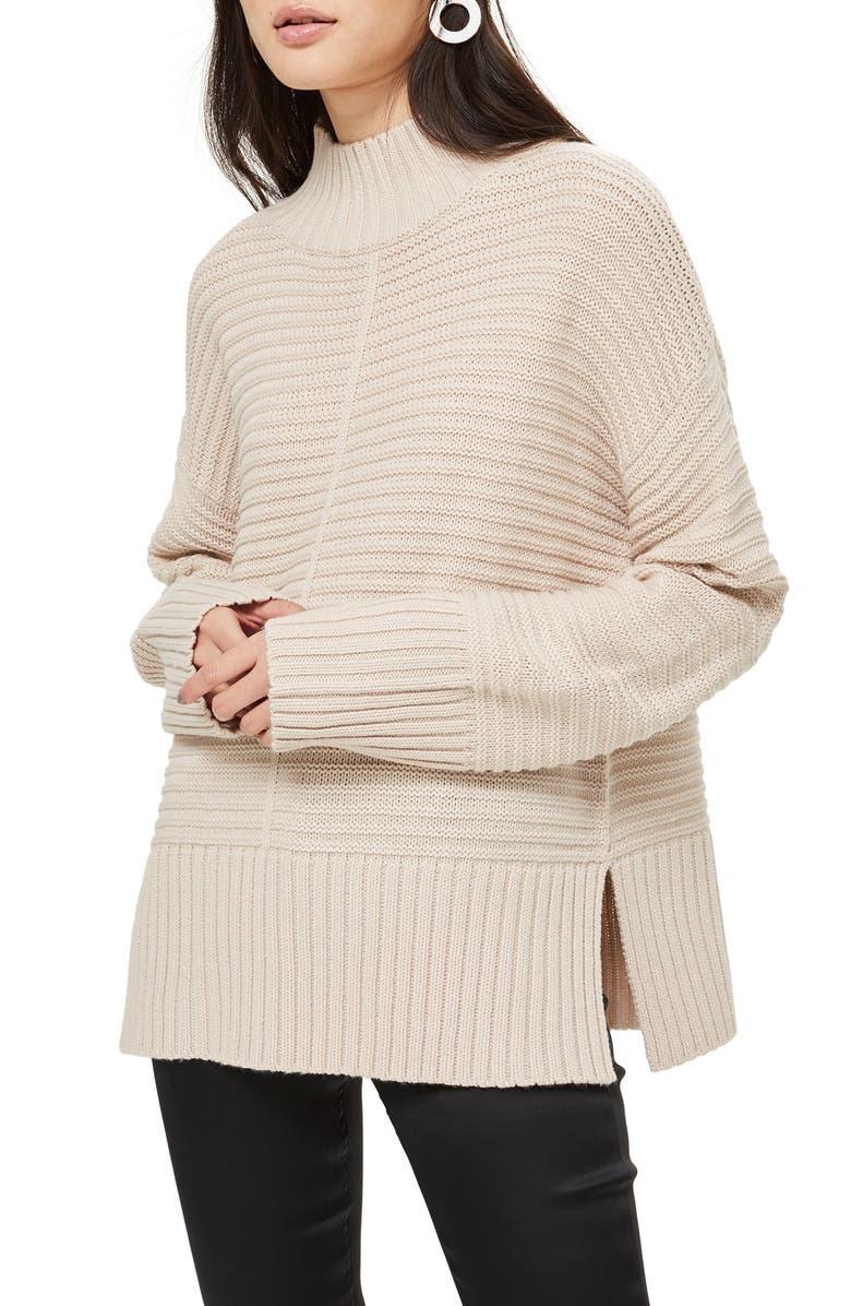 Mock Neck Sweater,                         Main,                         color, Oatmeal