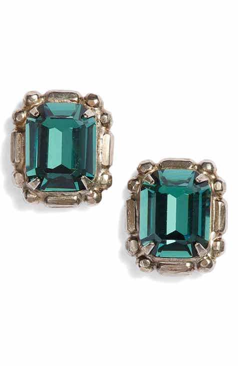 Sorrelli Emerald Cut Crystal Stud Earrings