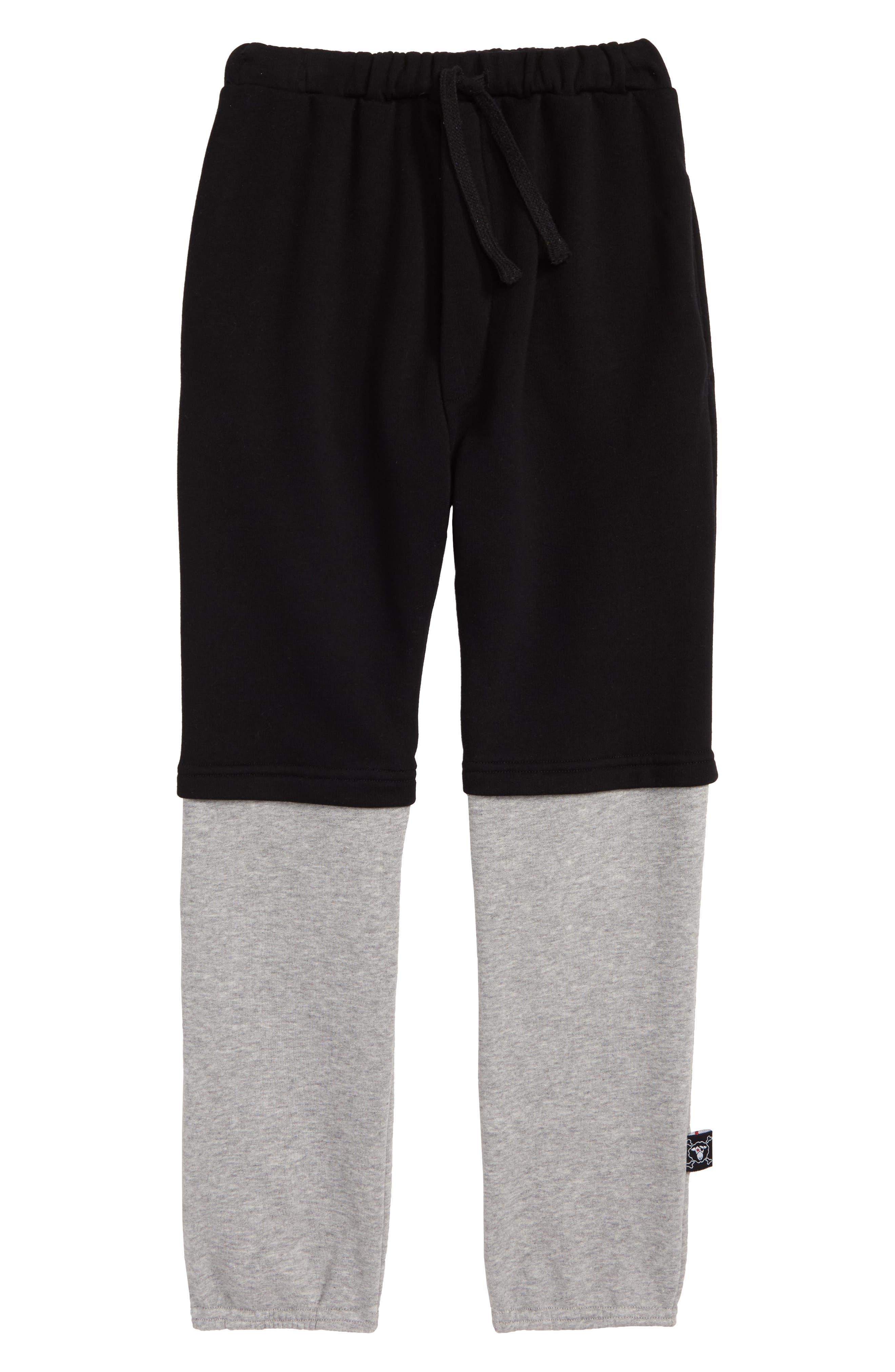 Double Sweatpants,                             Main thumbnail 1, color,                             Black/ Heather Grey